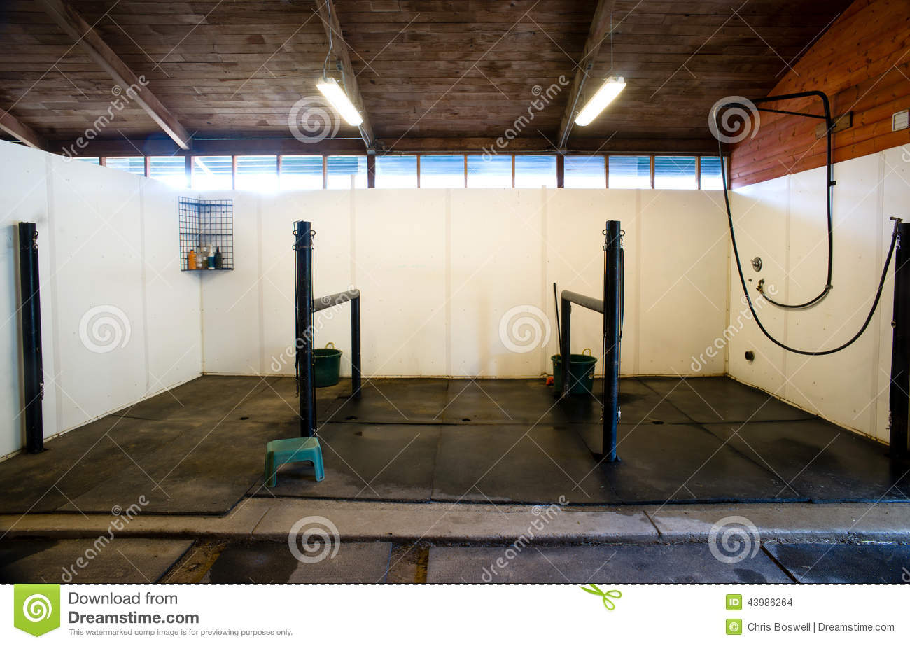 Equestrian Stables Horse Washing Station Stock Photo