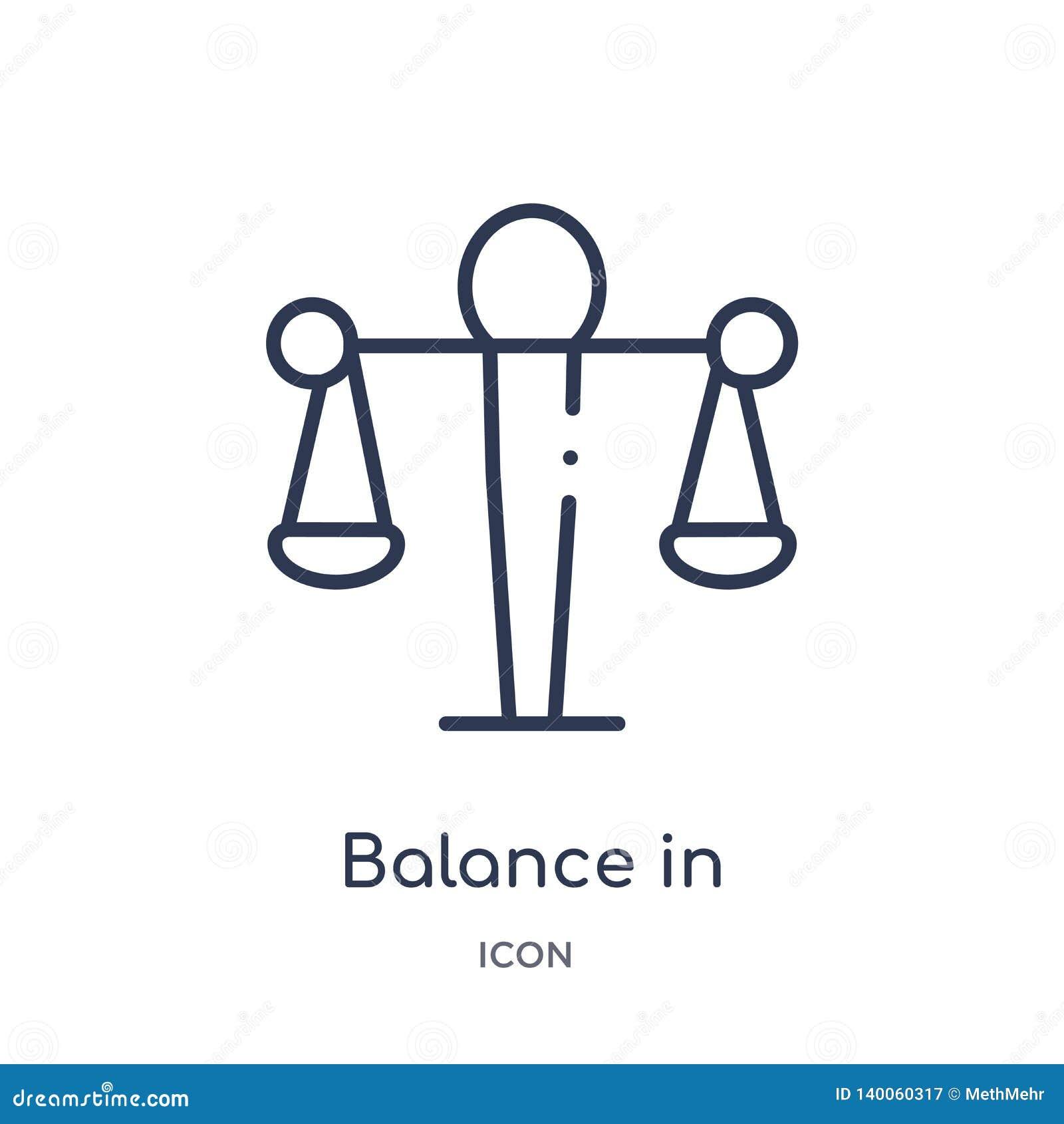 Equilibrio linear en icono de los recursos humanos de la colección del esquema de los recursos humanos La línea balanza fina en i