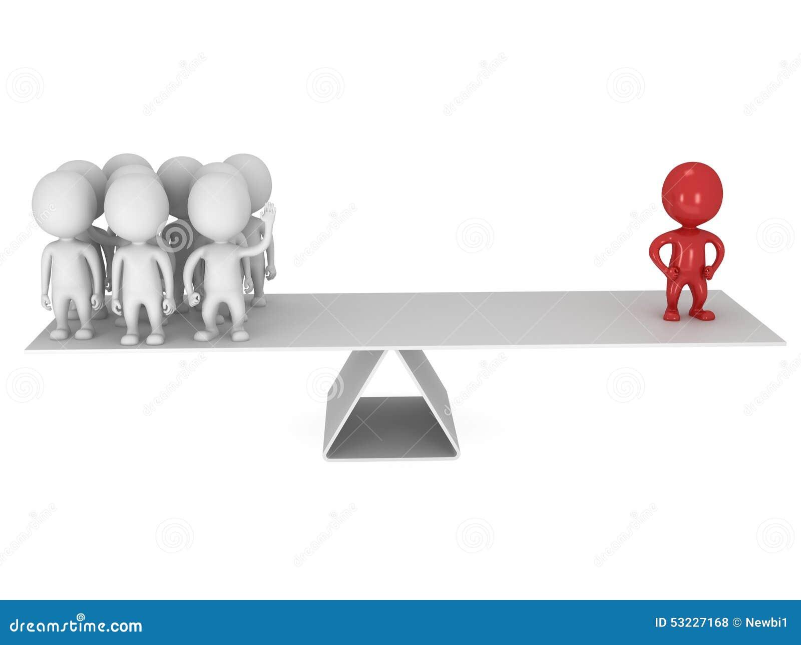 Equilibrio perfecto entre el líder y el equipo rojos