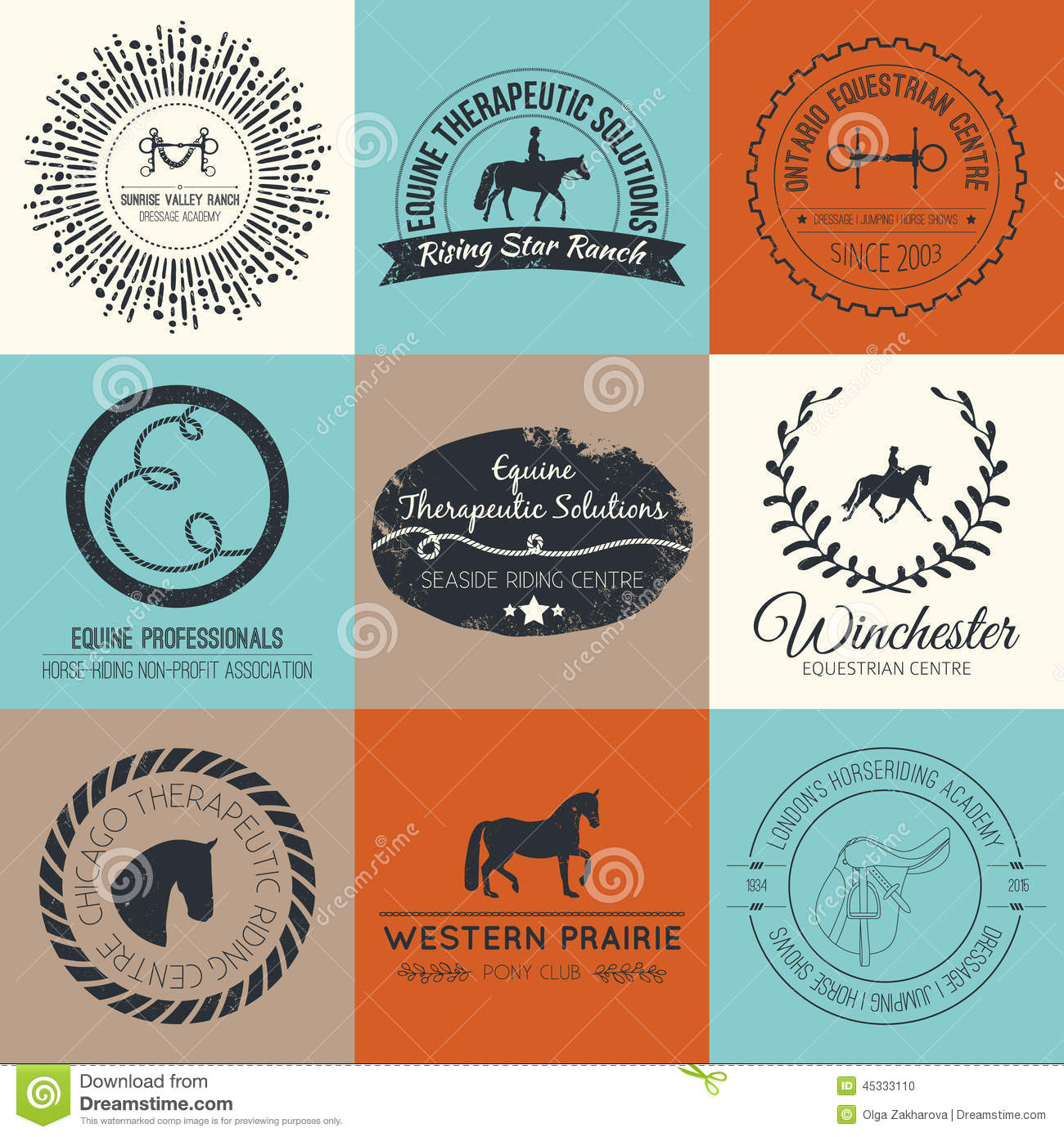 Equine Logo Stock Vector Image 45333110