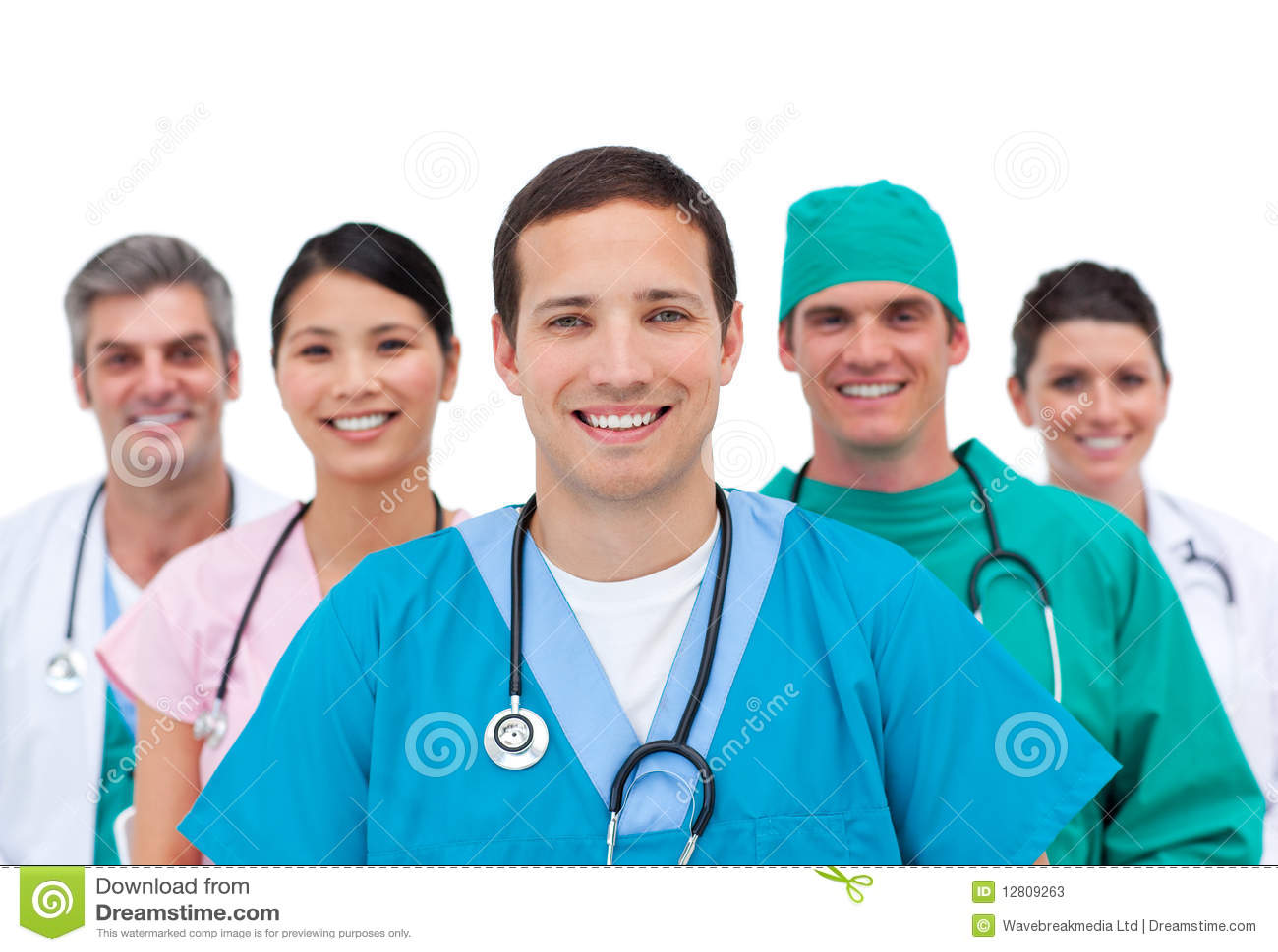 Equipa médica de sorriso
