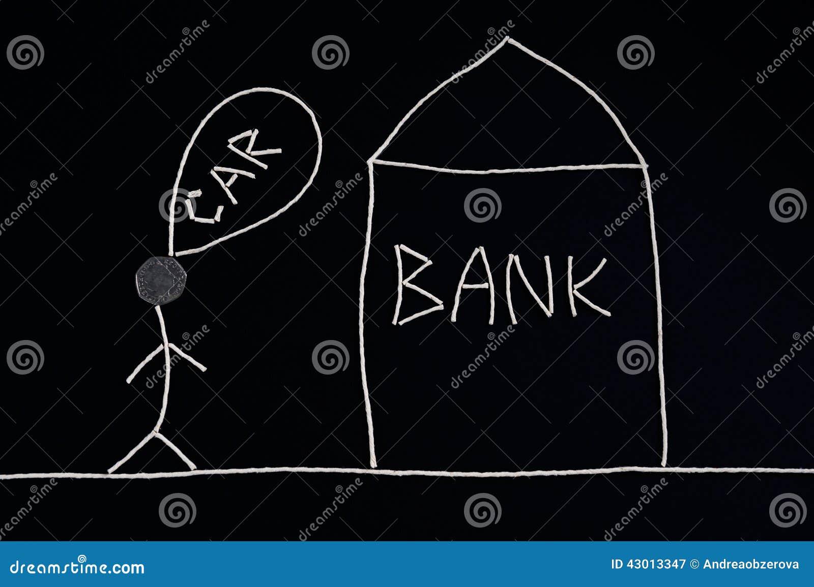 Equipaggi il ricerca dell aiuto finanziario da una banca per acquistare una nuova automobile, concetto dei soldi, insolito