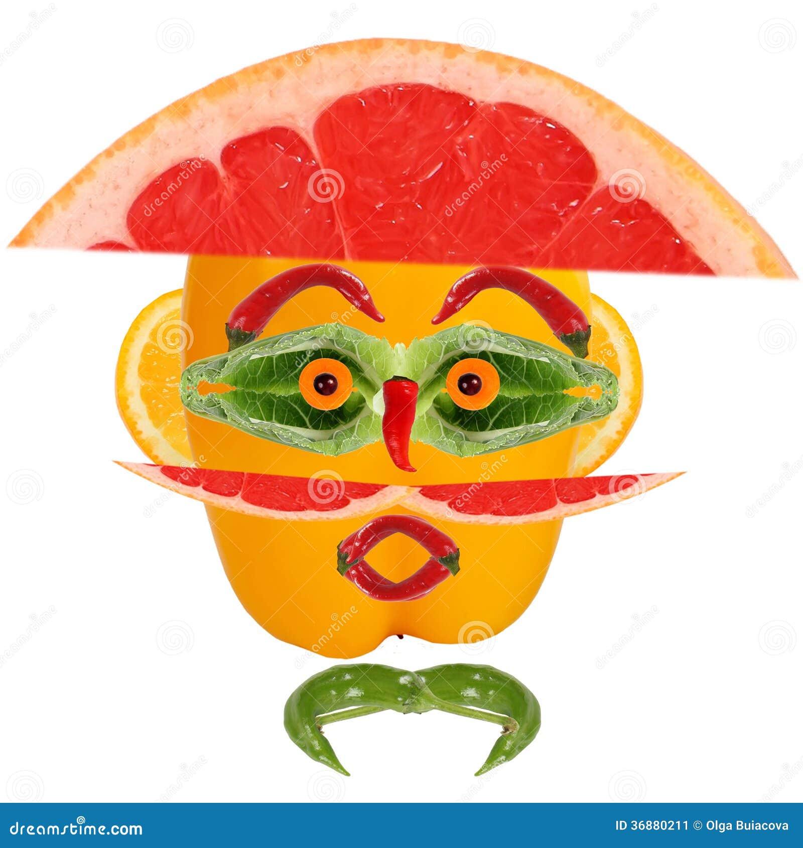 Download Equipaggi Il Ritratto In Cappello Fatto Delle Verdure E Della Frutta Immagine Stock - Immagine di occhio, sano: 36880211