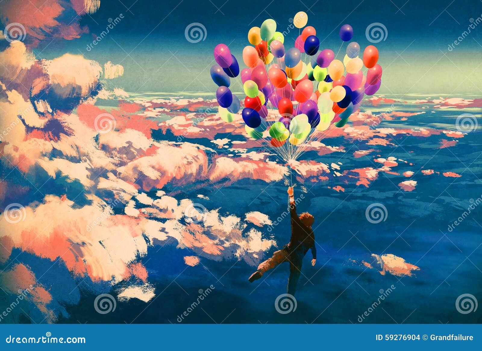 Equipaggi il volo con i palloni variopinti in bello cielo nuvoloso