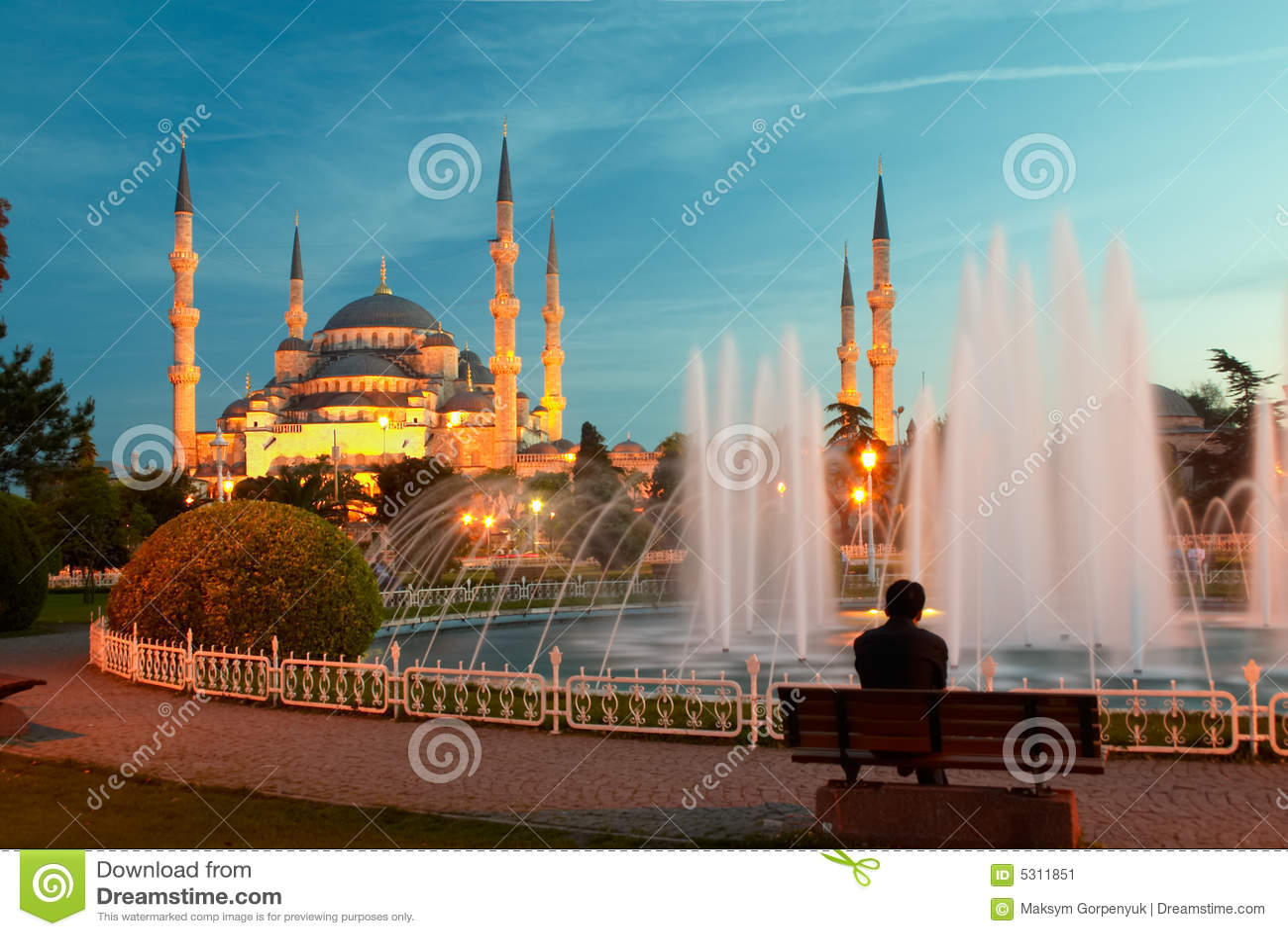 Download Equipaggi La Seduta Su Un Banco Vicino Della Moschea Blu Immagine Stock - Immagine di serenity, costruzione: 5311851
