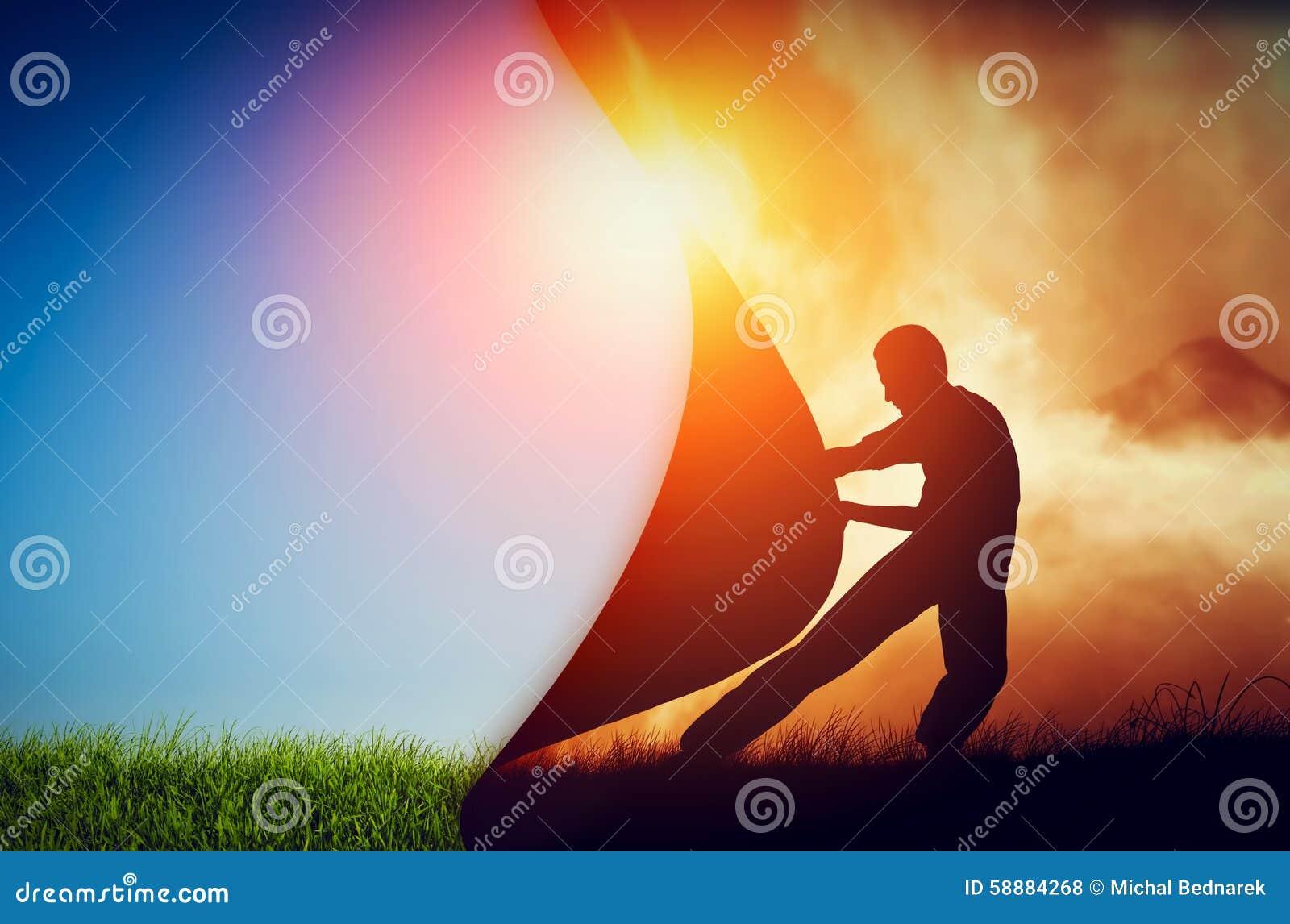 Equipaggi la trazione della tenda di oscurità per rivelare un nuovo mondo migliore cambiamento