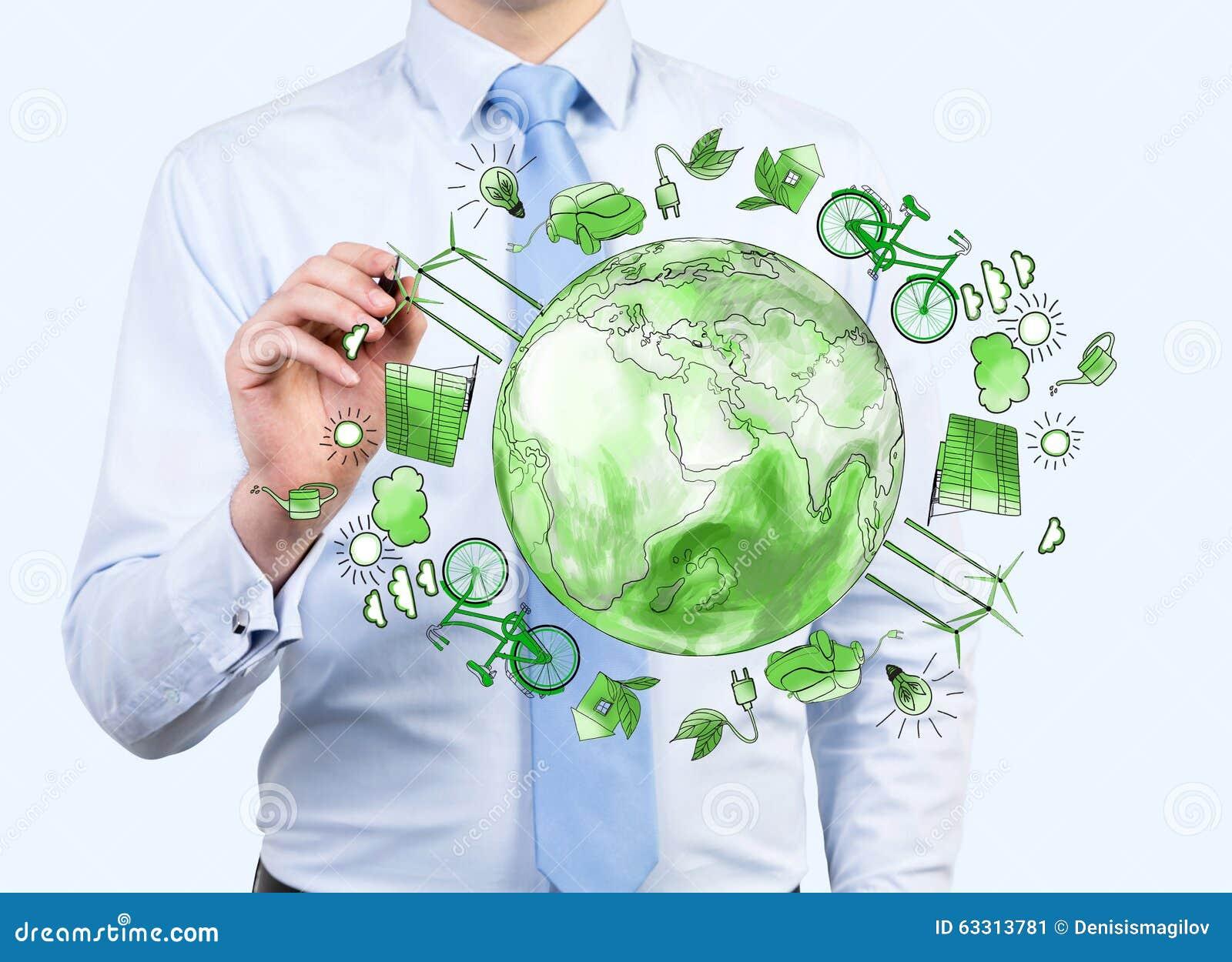 Equipaggi preoccuparsi per l ambiente pulito, l energia di eco, la protezione