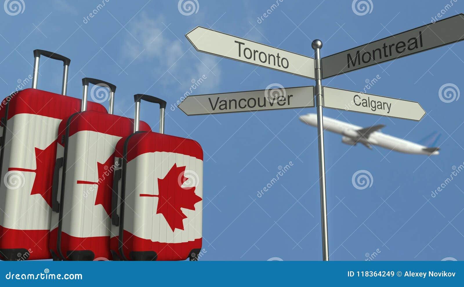 Equipaje Del Viaje Que Ofrece La Bandera De La Representación Conceptual 3D  Del Turismo Canadiense De Canadá, Del Aeroplano Y De Stock de ilustración -  Ilustración de turista, visita: 118364249