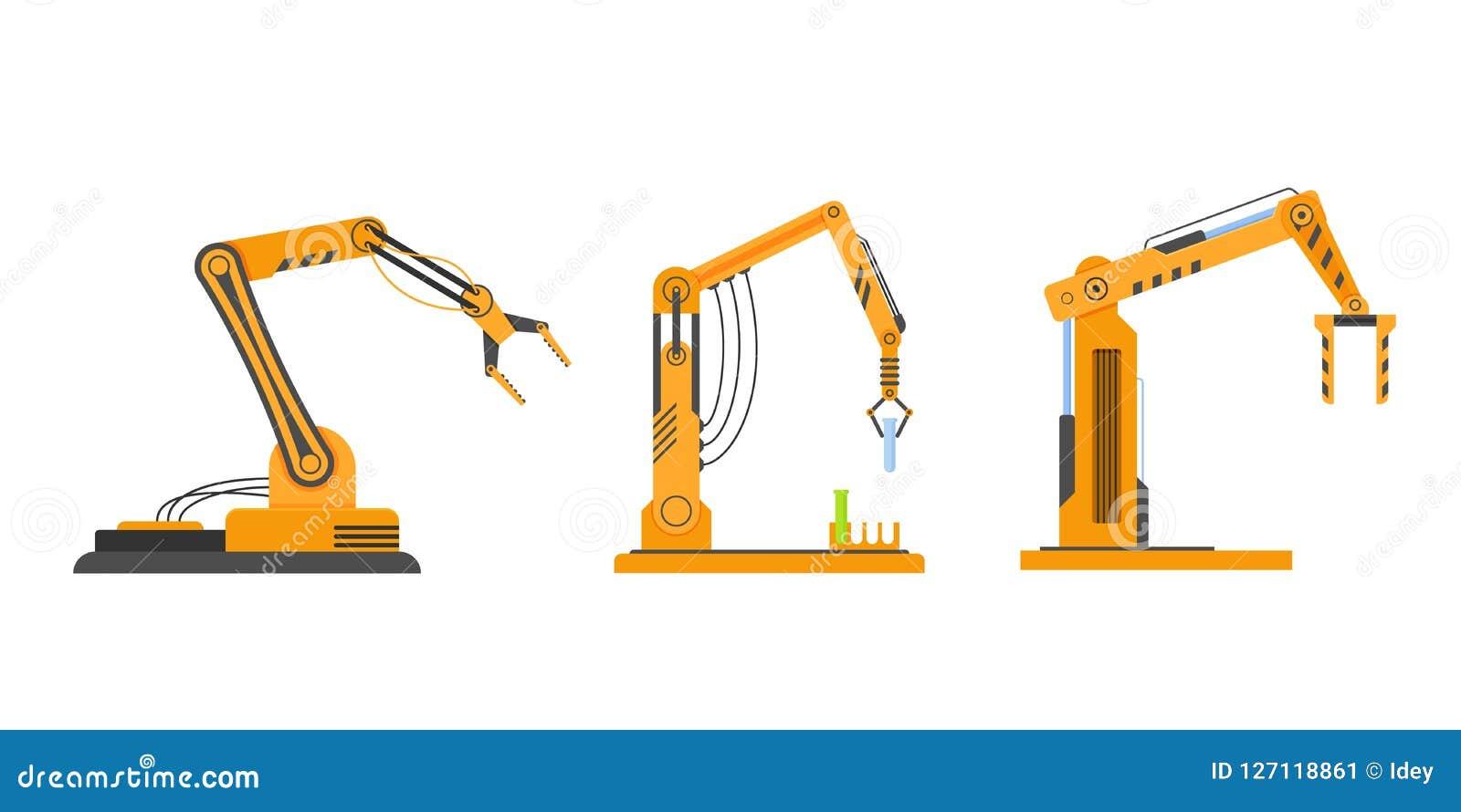 Equipamento industrial em robôs do braço do formulário, equipamento robótico, máquinas da fábrica