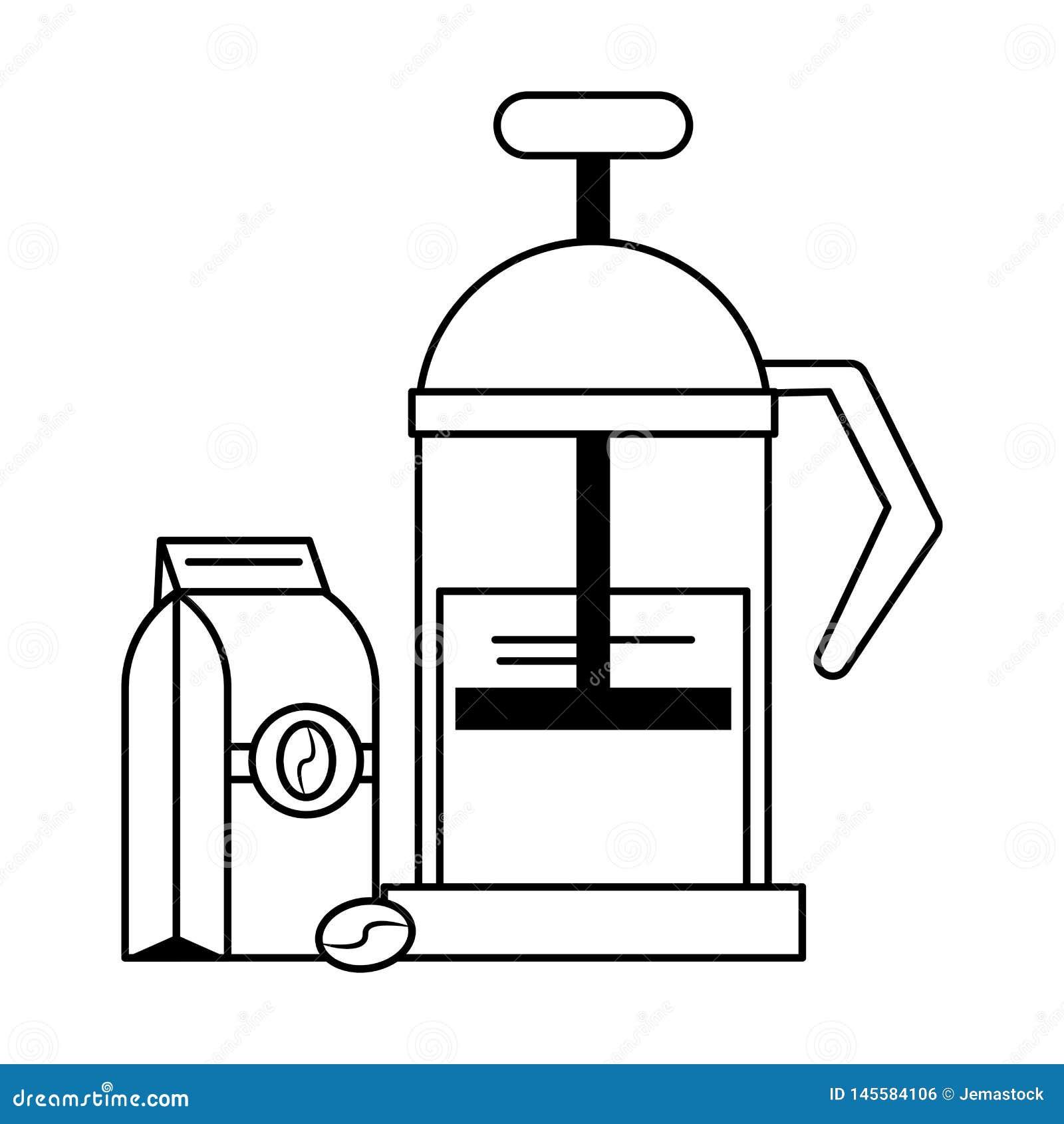 Equipamento manual do coffeeshop do fabricante de café em preto e branco