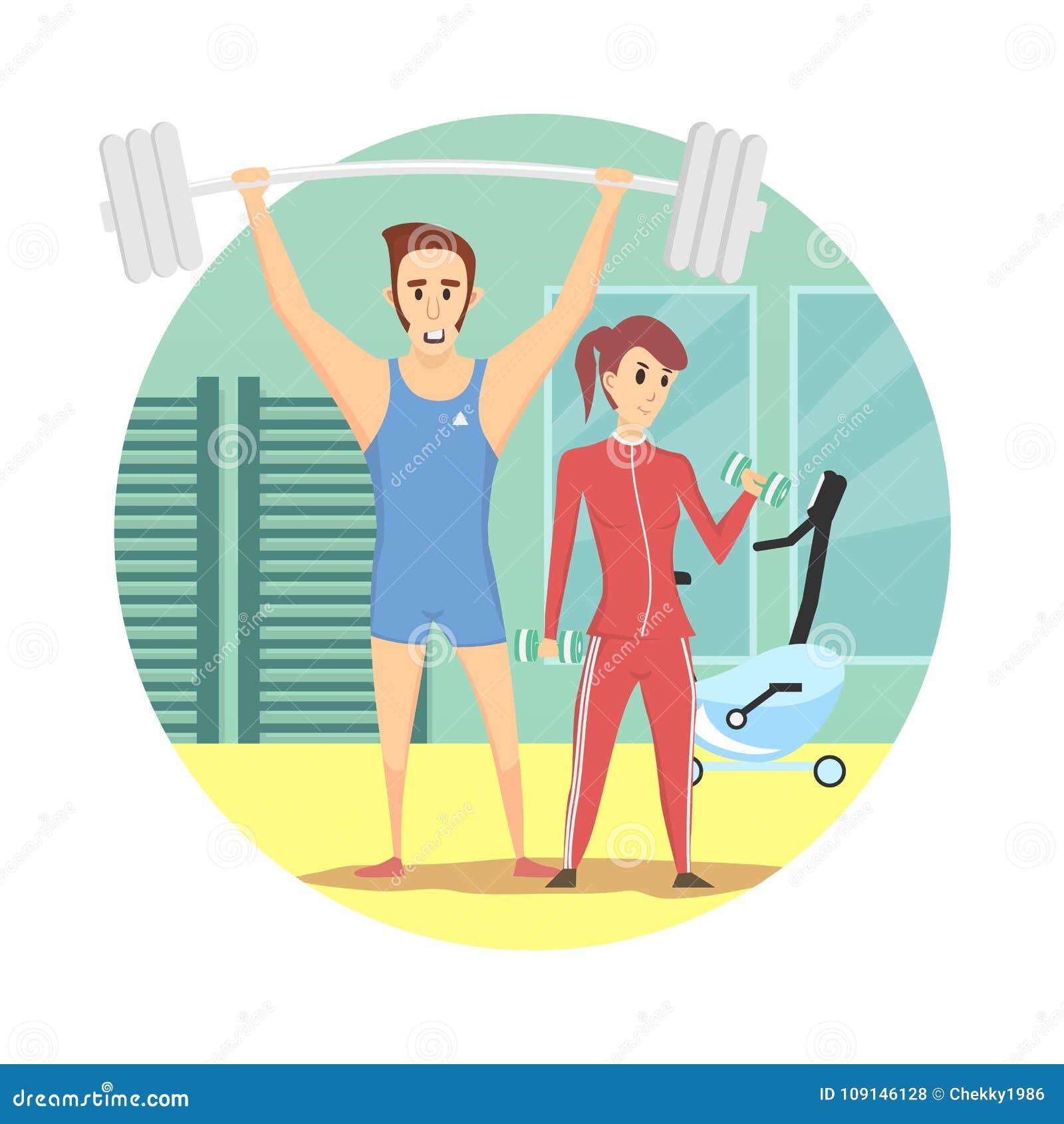 Equipamento vestindo do esporte do homem muscular e da mulher  sexy  saudável no gym