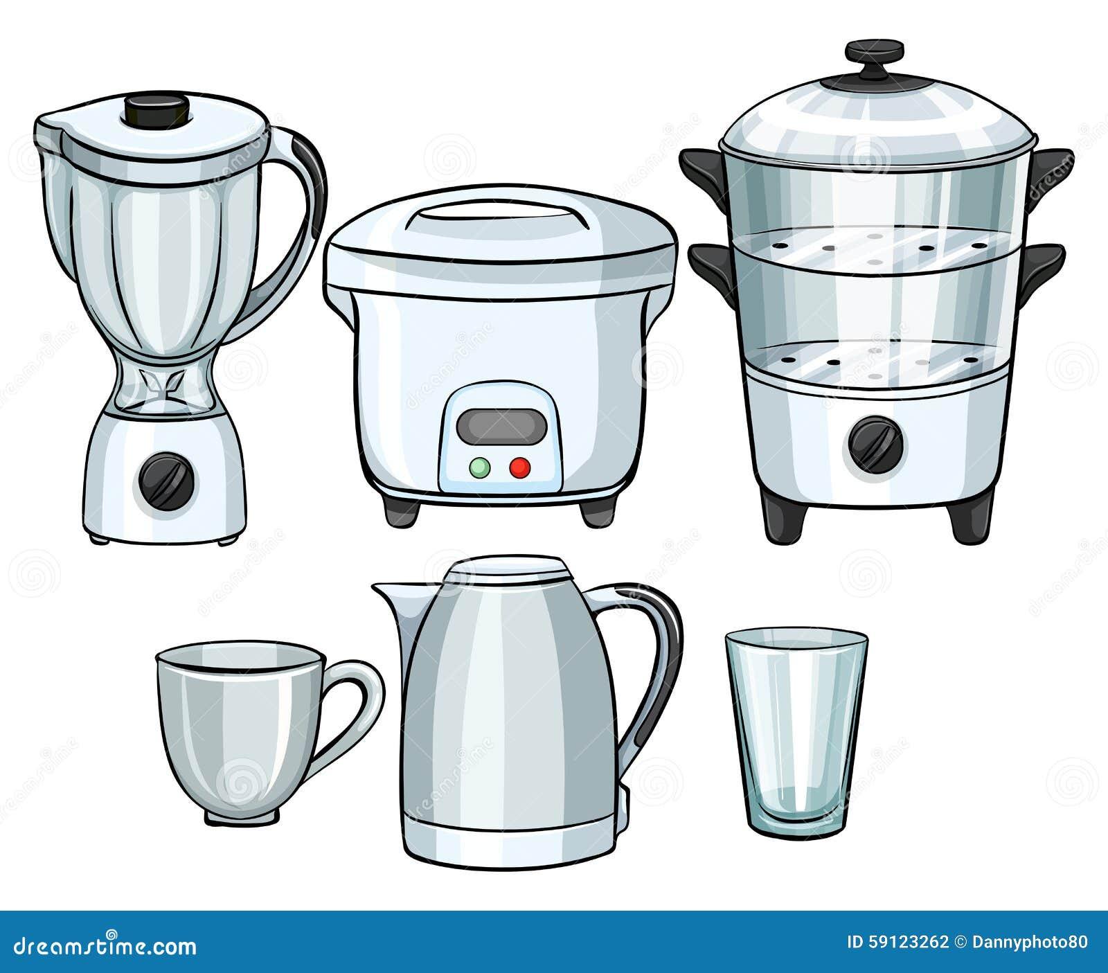 Equipamentos eletr nicos usando se na cozinha ilustra o for Equipo manual de cocina