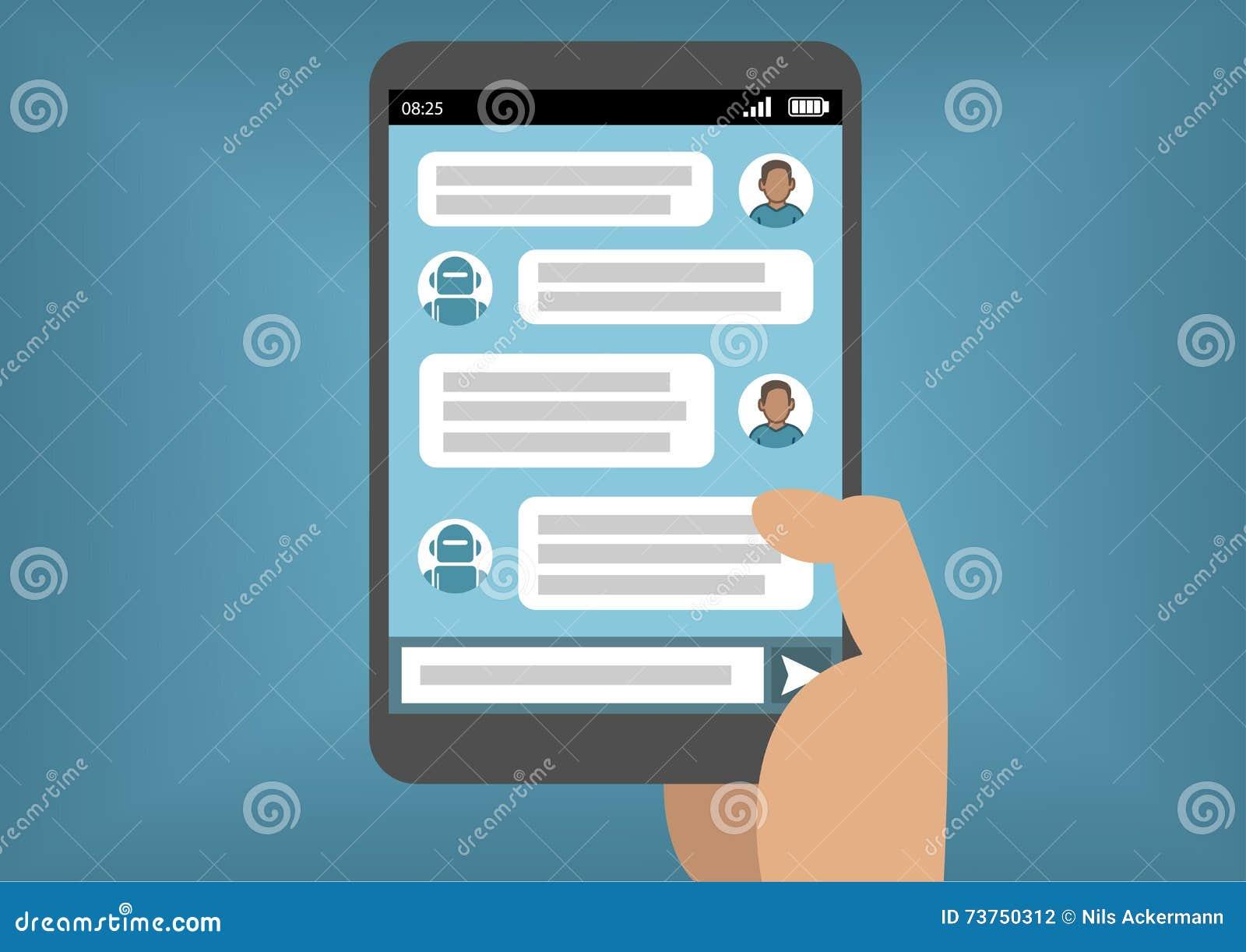 Equipe a comunicação com o bot do bate-papo através de Instant Messenger como exemplo da inteligência artificial