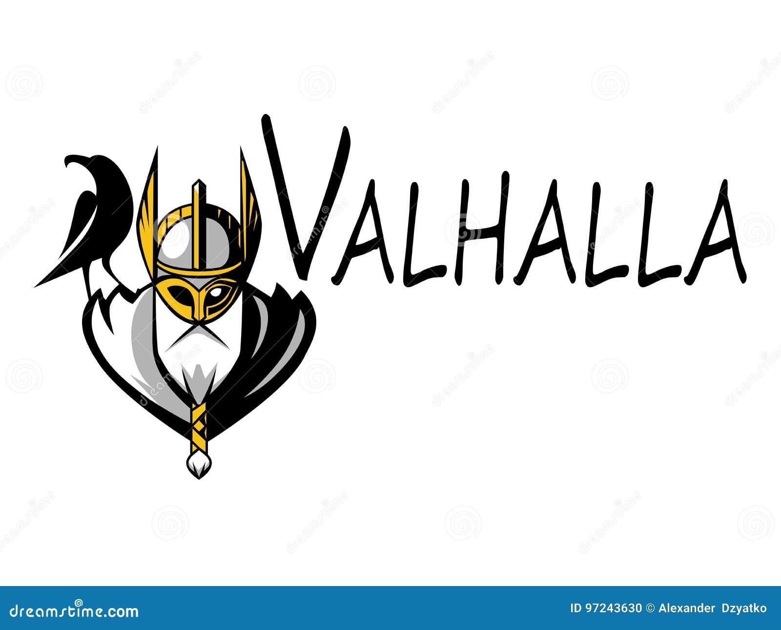 Equipe de esporte da ilustração de Odin do deus ou liga escandinava Logo Template Cabeça do guerreiro poderoso na mascote do capa