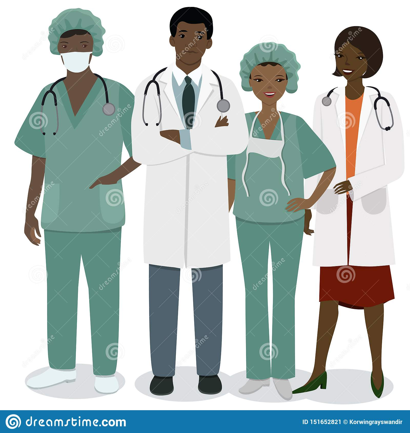 Equipe de funcion?rios m?dica Um grupo de profissões médicas dos homens e das mulheres Imagem do vetor isolada no fundo branco