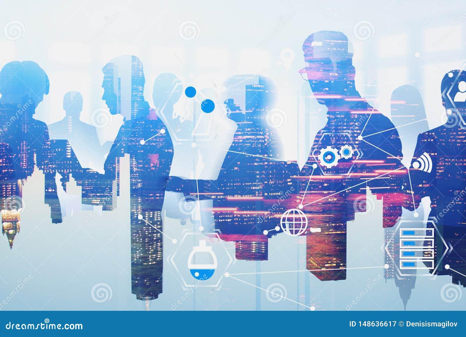Equipe do negócio na cidade, relação virtual