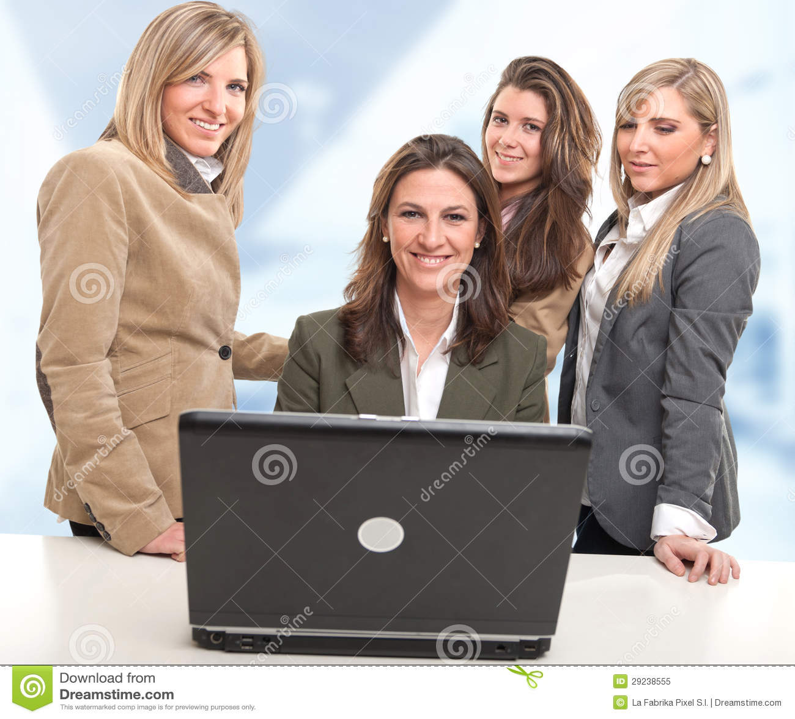 Download Equipe Do Trabalho Das Meninas Imagem de Stock - Imagem de grupo, computador: 29238555