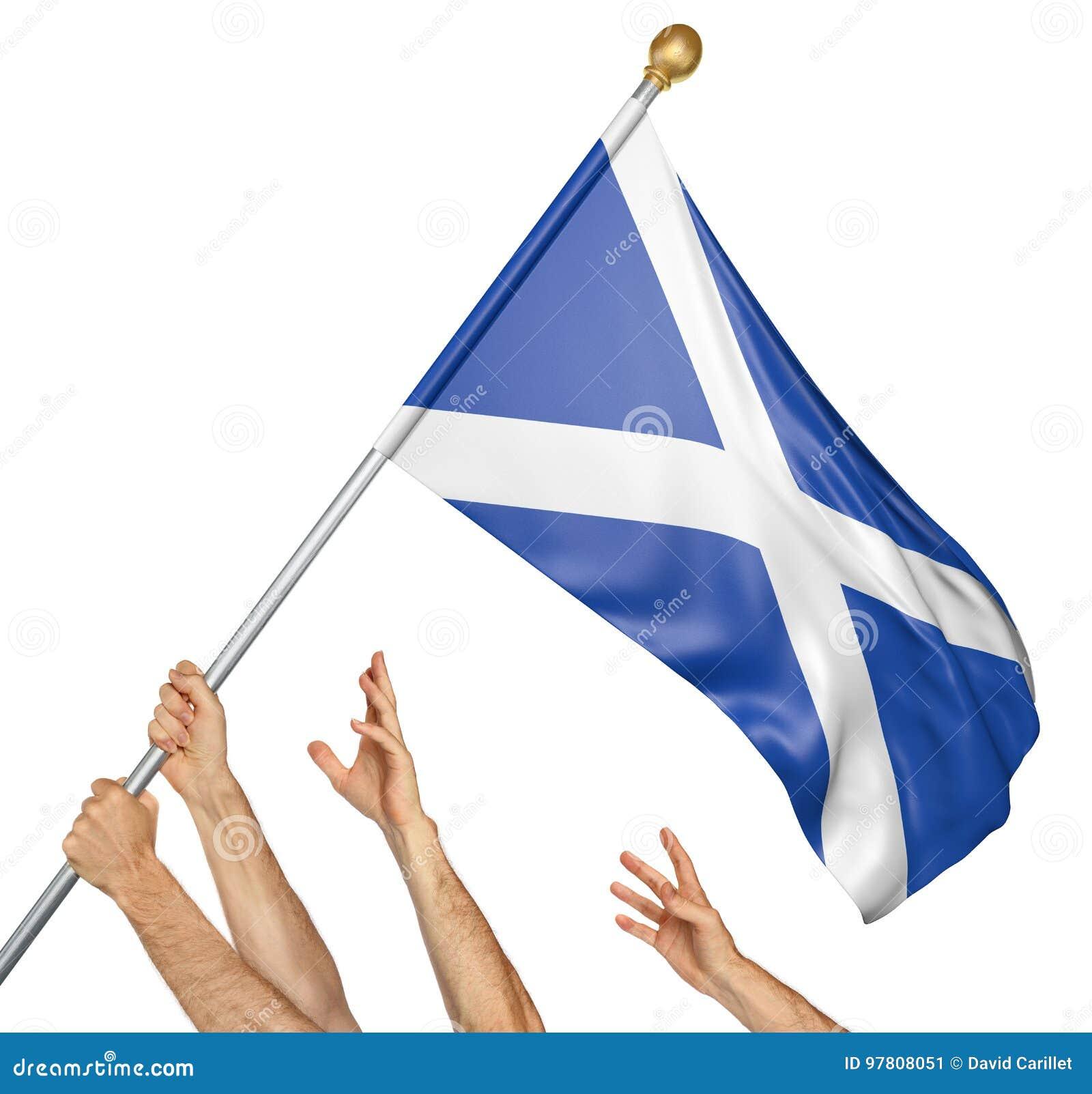 A equipe dos povos entrega o levantamento de Escócia bandeira nacional