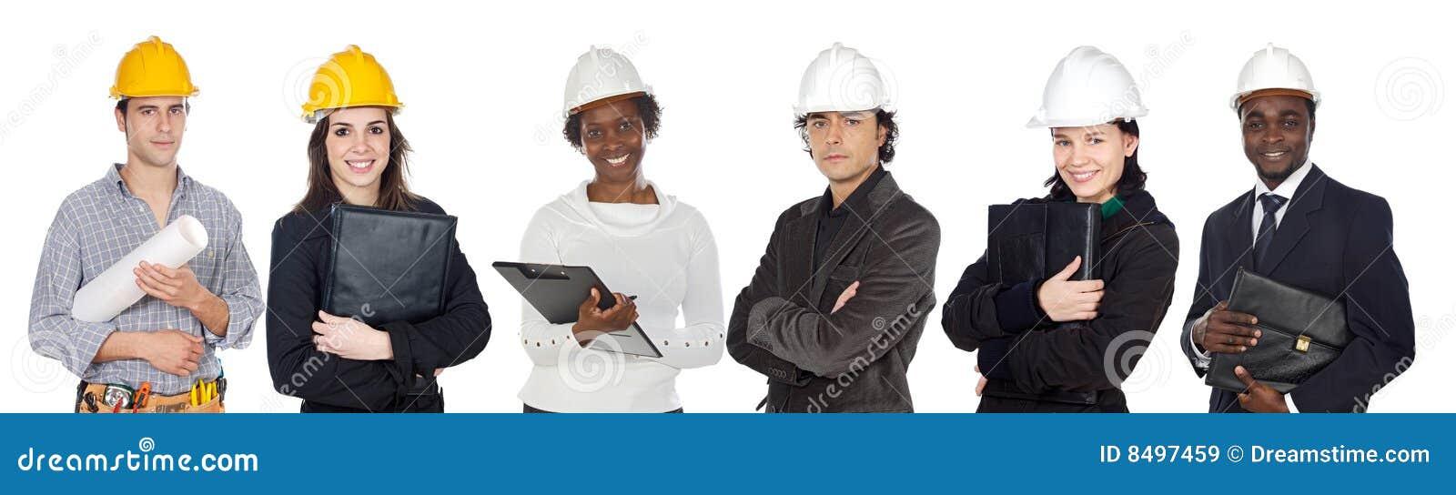 Equipe dos trabalhadores da construção