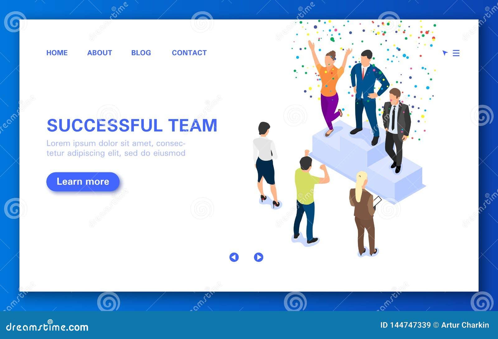 Equipe dos vencedores do conceito em um suporte Bandeira da Web com um grupo de pessoas