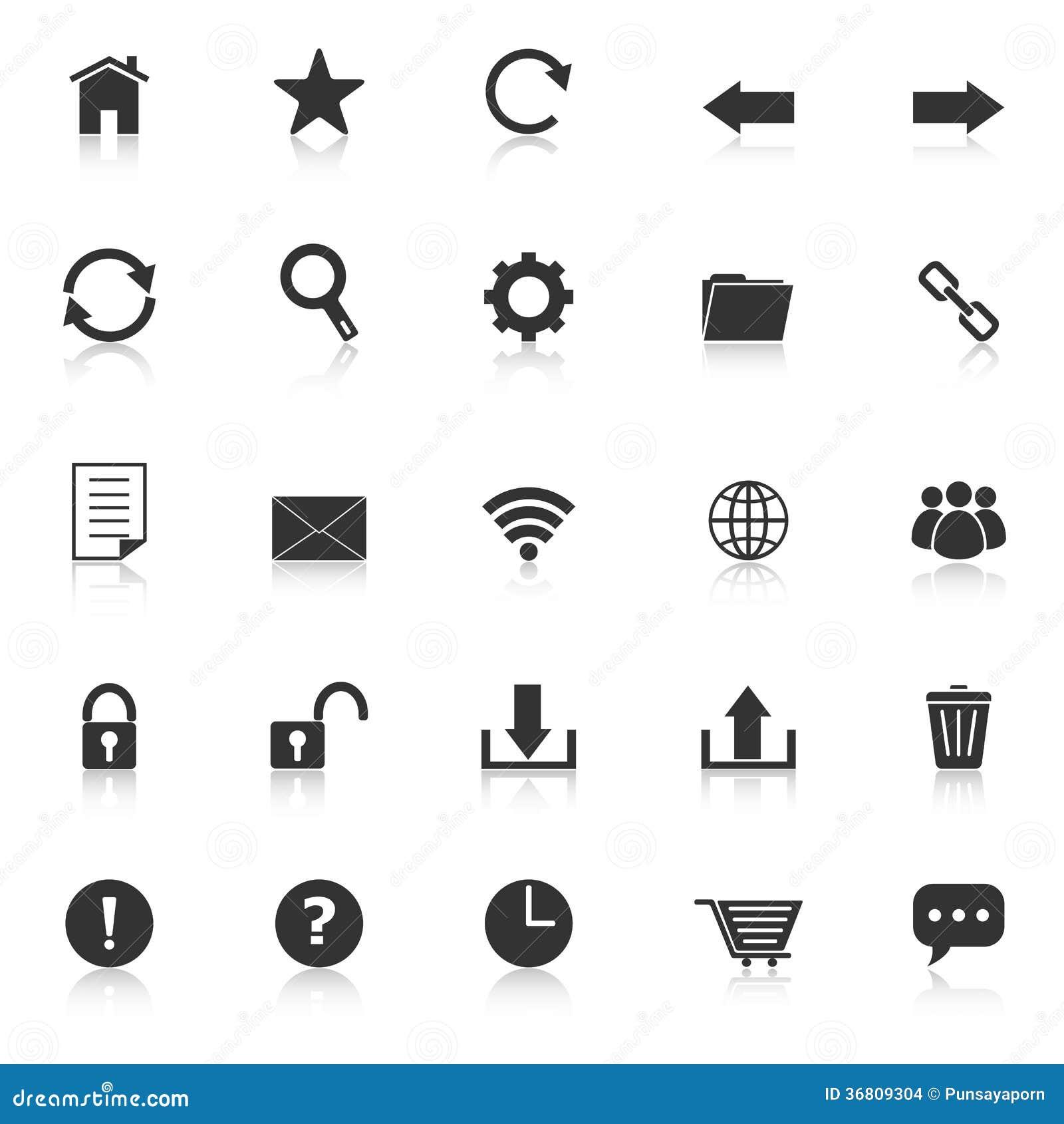 Equipe los iconos de la barra con reflejan en el fondo blanco