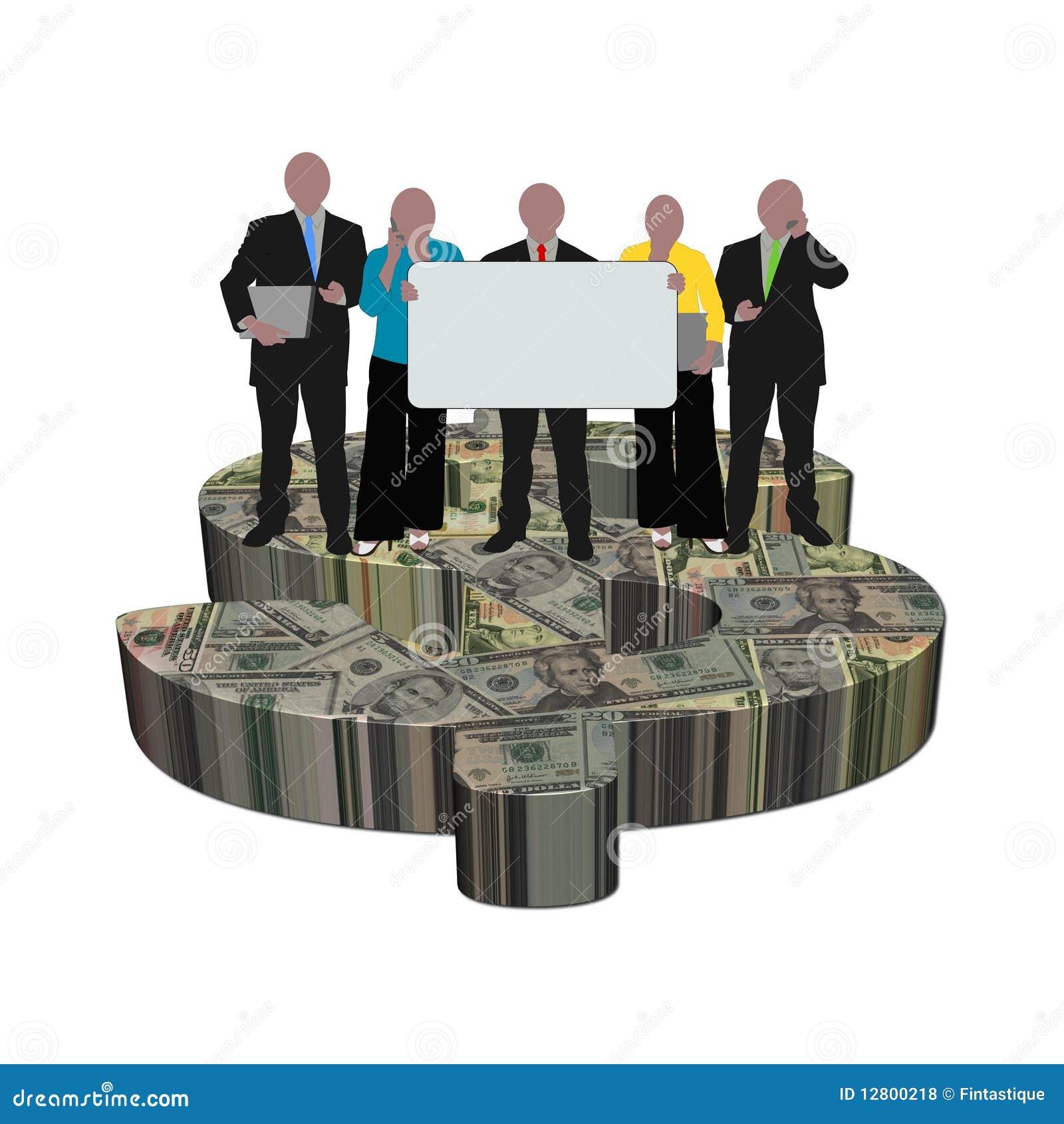 Equipe no símbolo do dólar
