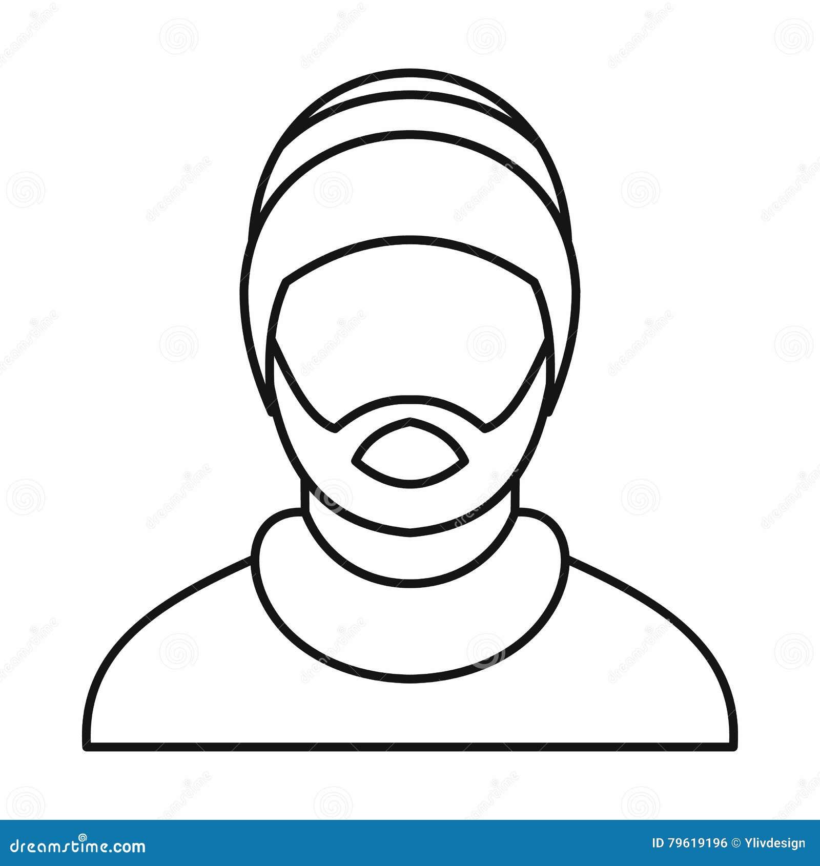Equipe o ícone rastafarian vestindo do chapéu, estilo do esboço