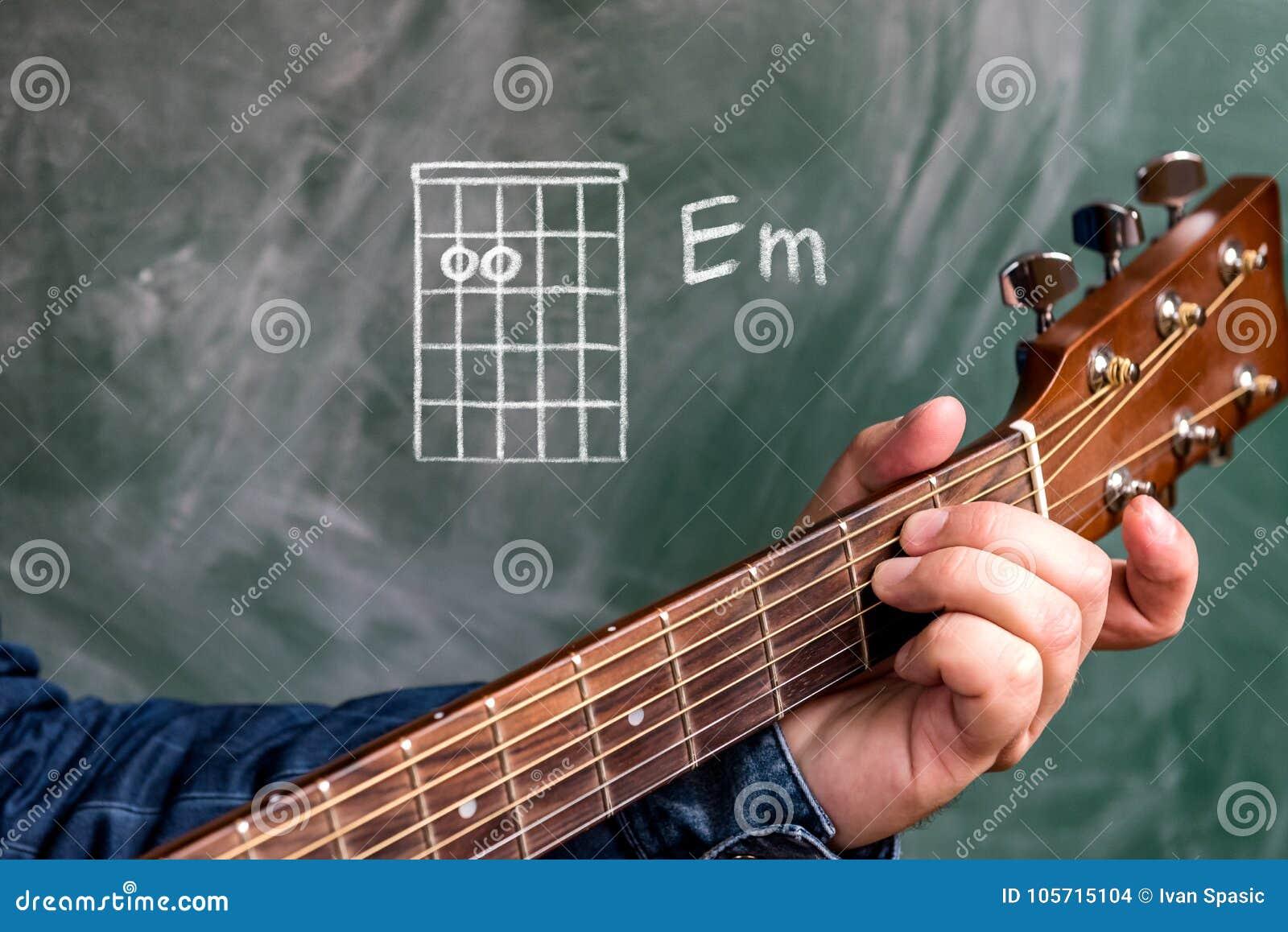 Equipe o jogo das cordas da guitarra indicadas em um quadro negro