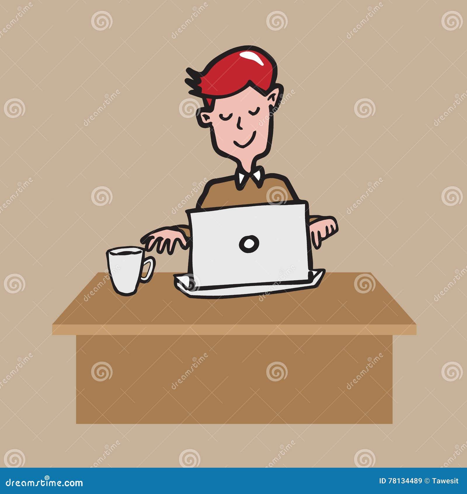 Equipe O Trabalho No Labtop Com O Desenho Dos Desenhos Animados Do