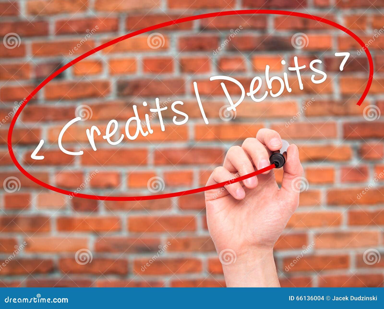 Equipe os créditos da escrita da mão - débitos com o marcador preto no sc visual