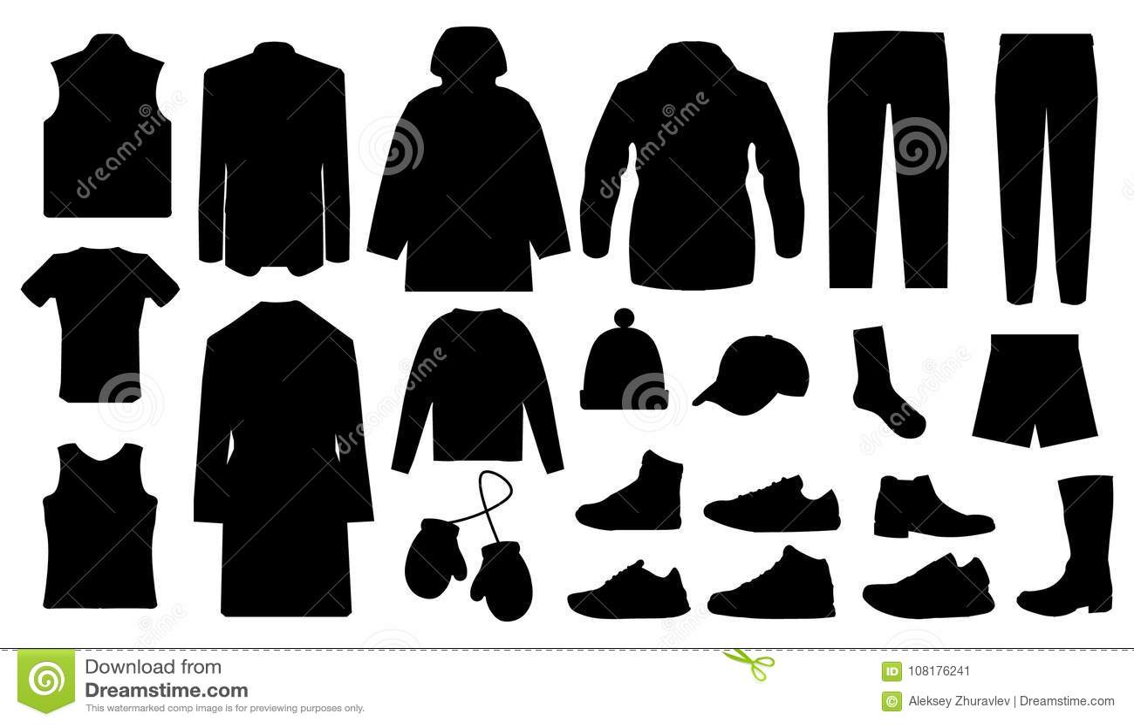 5da28cdb2 Equipe a roupa e coleção dos acessórios - vestuário da forma - vector a  ilustração EPS da silhueta do ícone