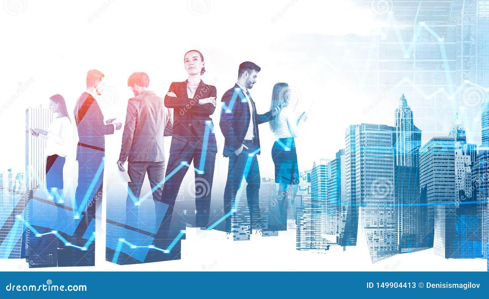 Equipe segura do negócio na cidade, gráficos digitais