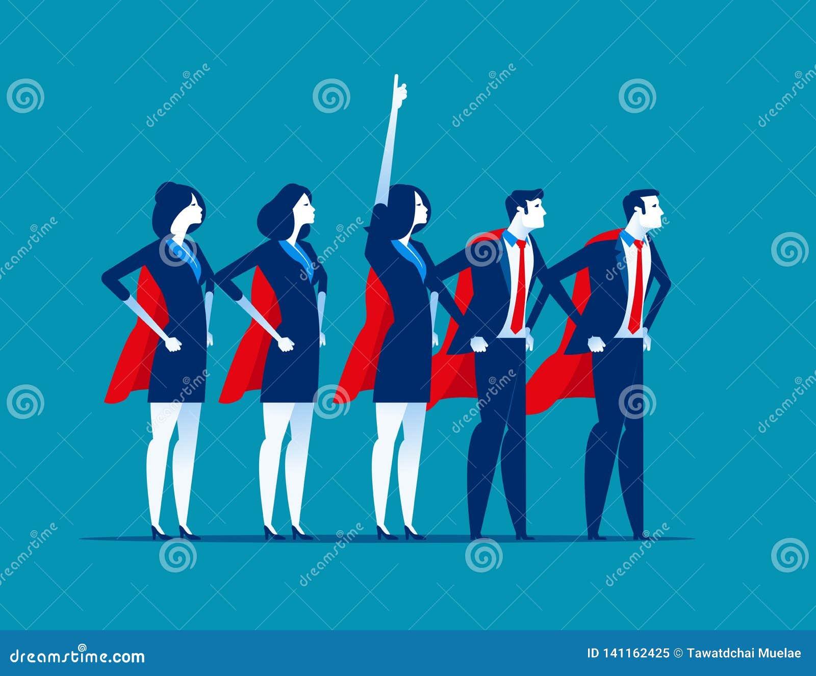 Equipe super do negócio Líder super do caráter Ilustração do vetor do negócio do conceito