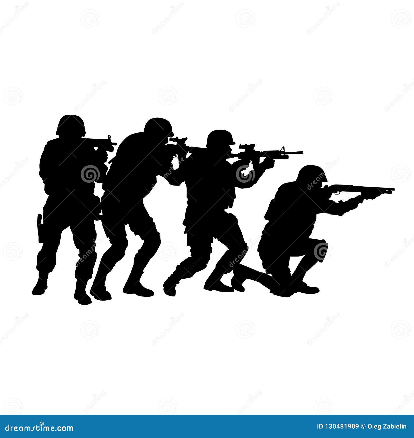 Equipe SWAT na silhueta do vetor da formação de pilha