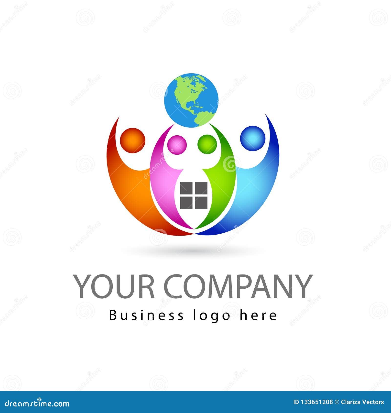A equipe trabalha multi quatro pessoas da cor junto no fundo branco com logotipo do vetor do globo