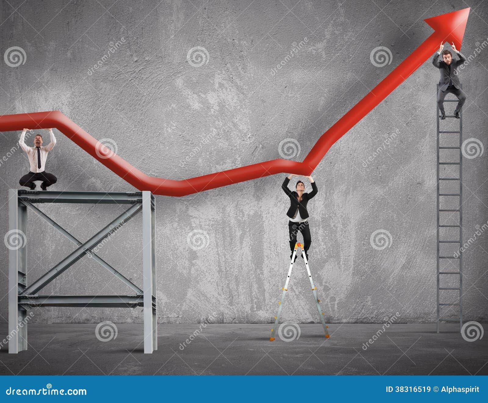 A equipe trabalha para melhorar o lucro de negócio