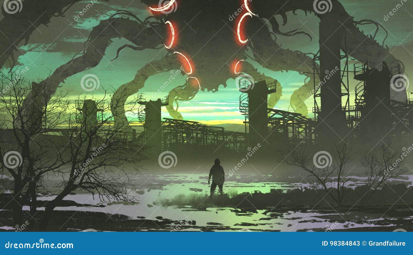 Equipe a vista do monstro gigante que está acima da fábrica abandonada