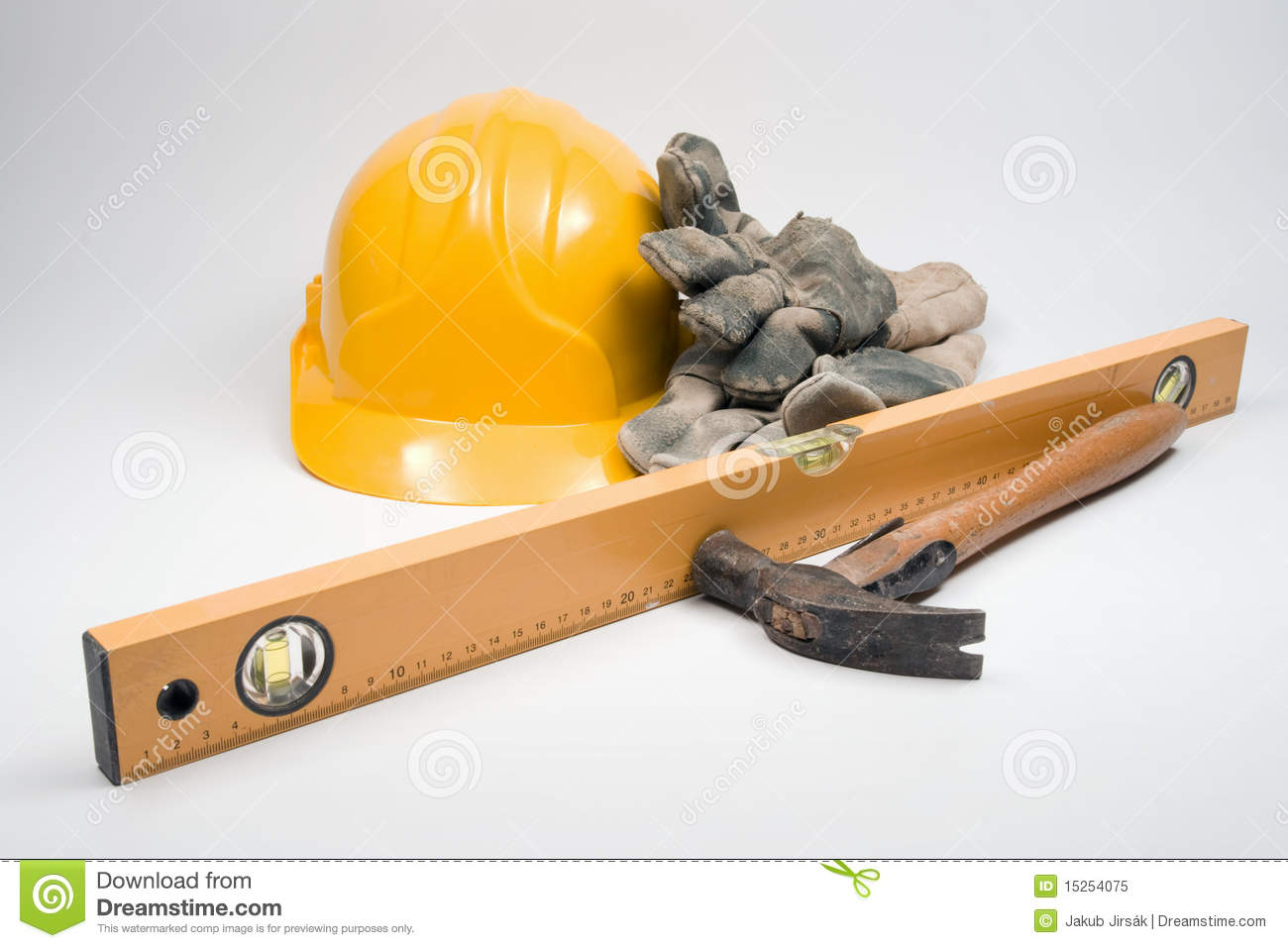 Builder's equipment - protective gloves, industrial helmet, builder's ...