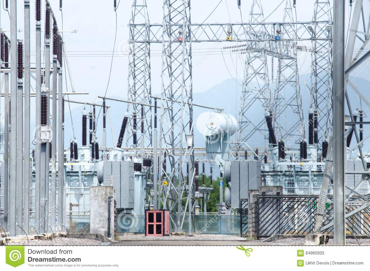 Industrial Power Cables : Equipment cables and piping stock photography