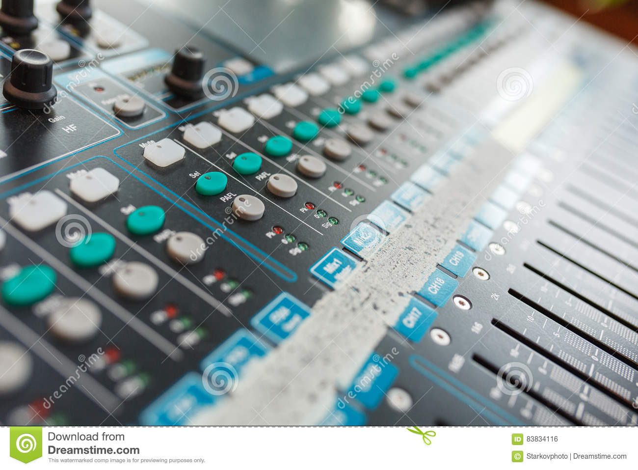 Equipment For DJ And Musicians Sound Mixer  Stock Photo