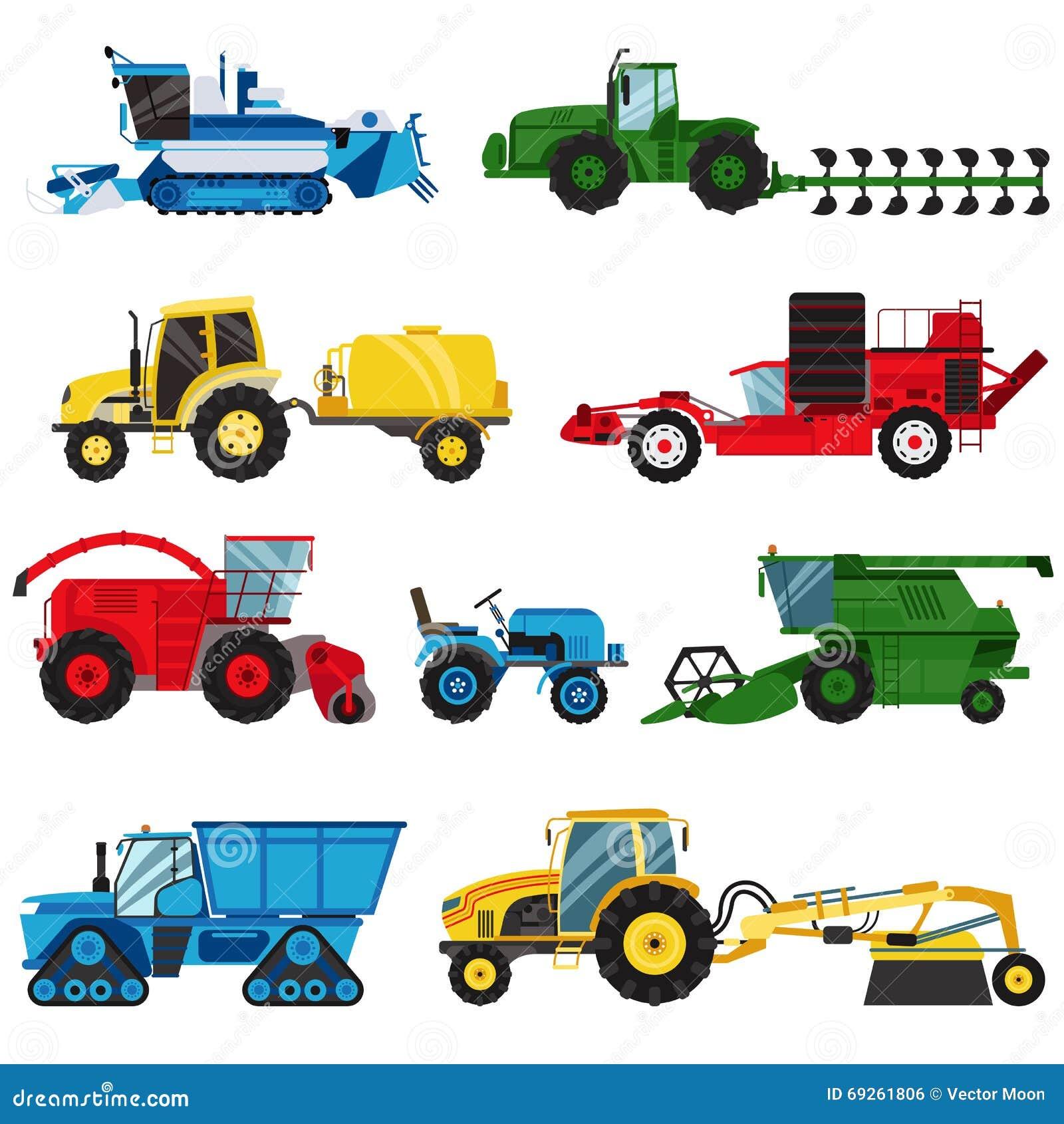 Farm Machinery And Equipment : Excavators cartoons illustrations vector stock images