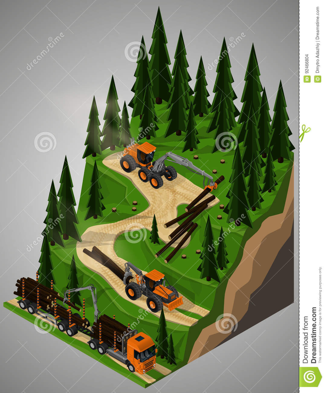 Equipment For Forestry Industry Stock Vector Illustration Of