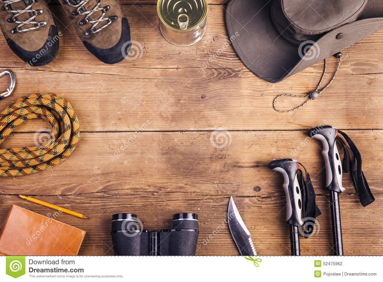 Hiking Shoes And Equipment Background Stock Photography ...