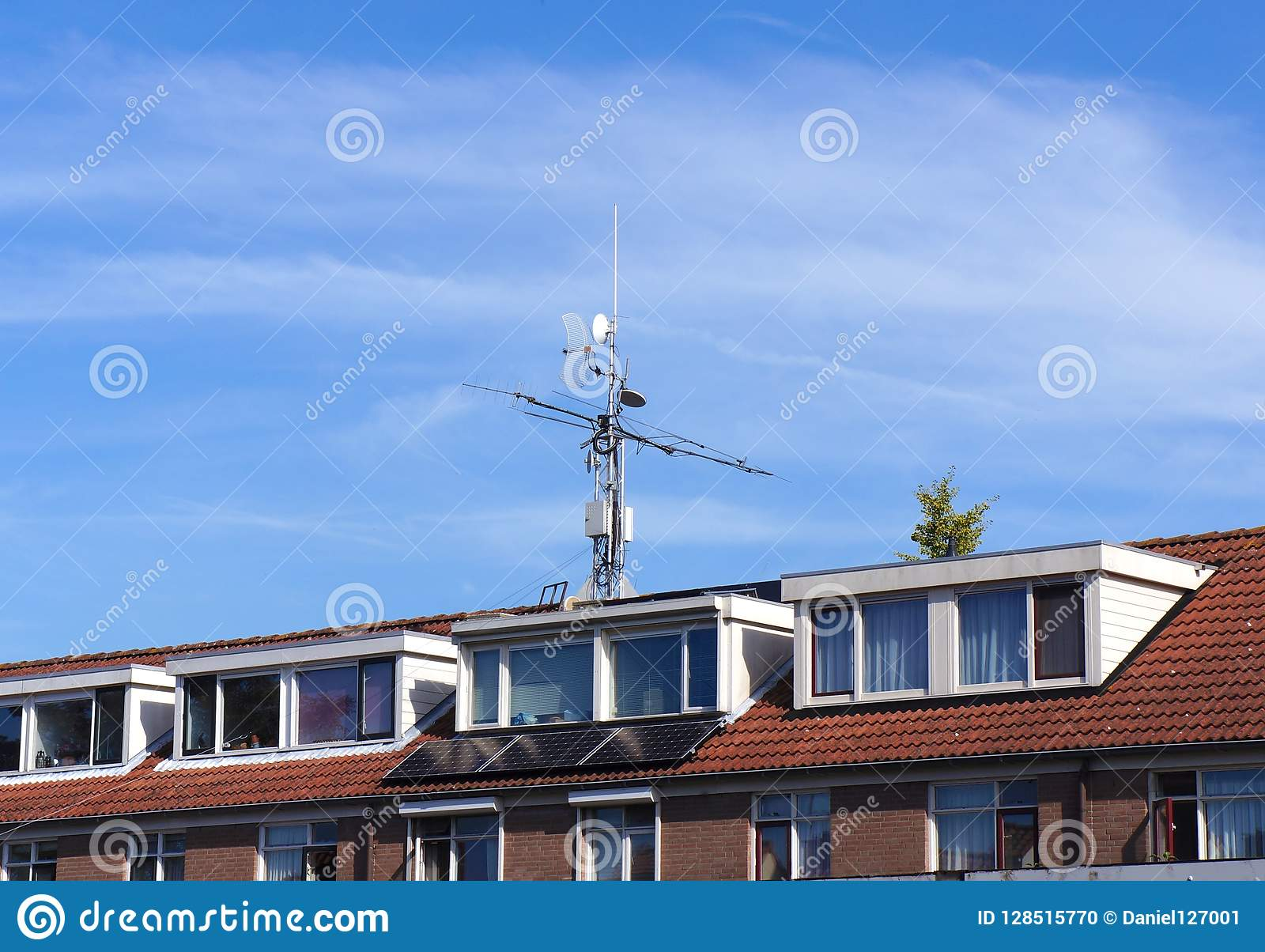 Telecommunication equipment on a rooftop