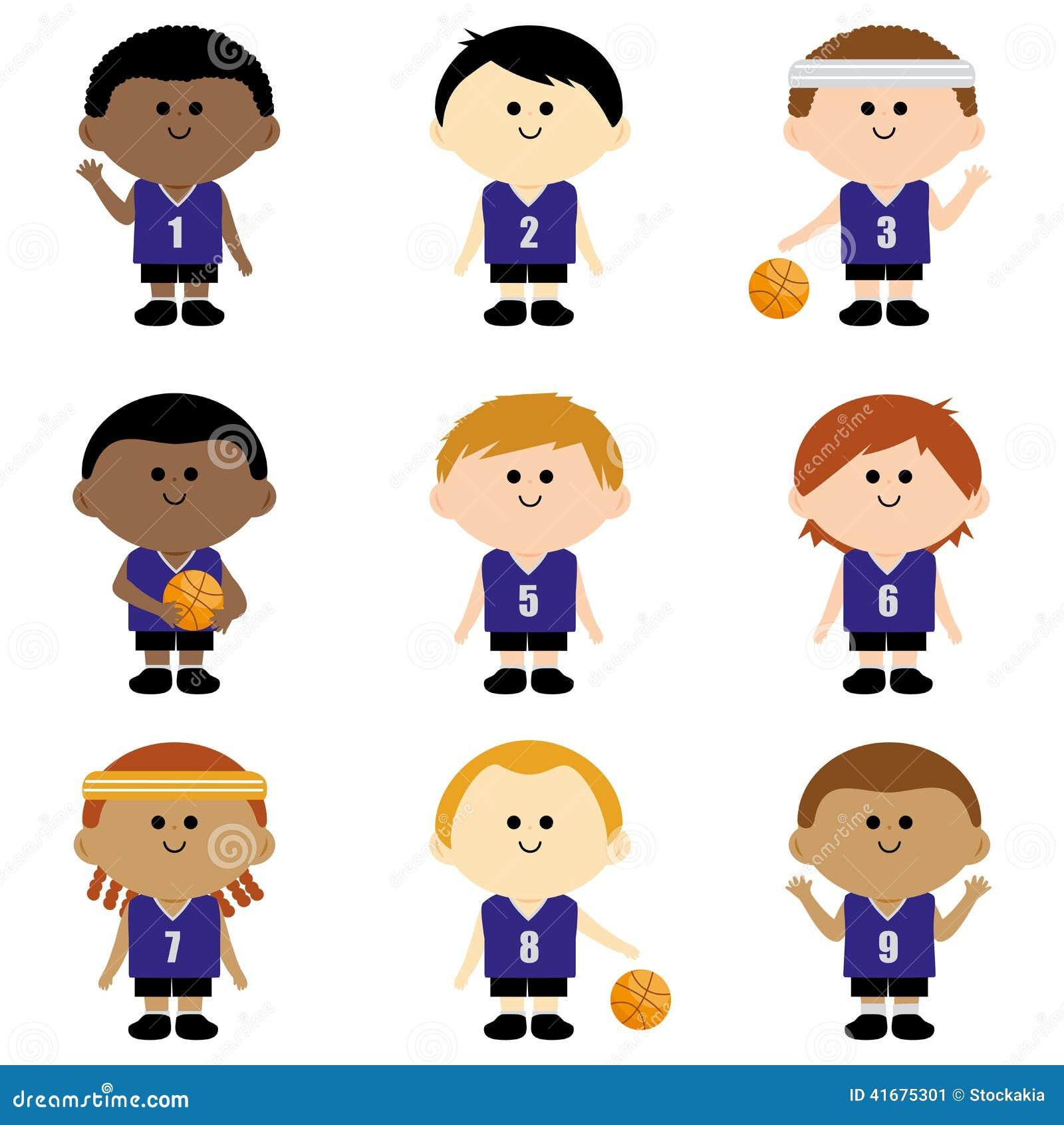 Equipo De Baloncesto De Los Niños Ilustración del Vector ...