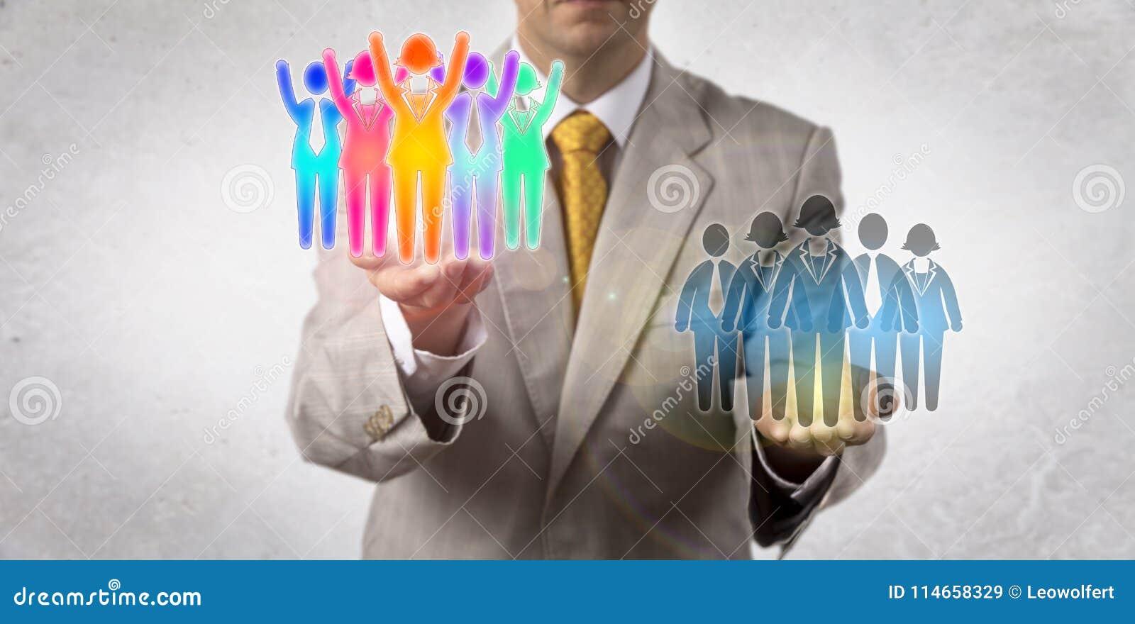 Equipo de Elevating Winning Multicultural del empresario