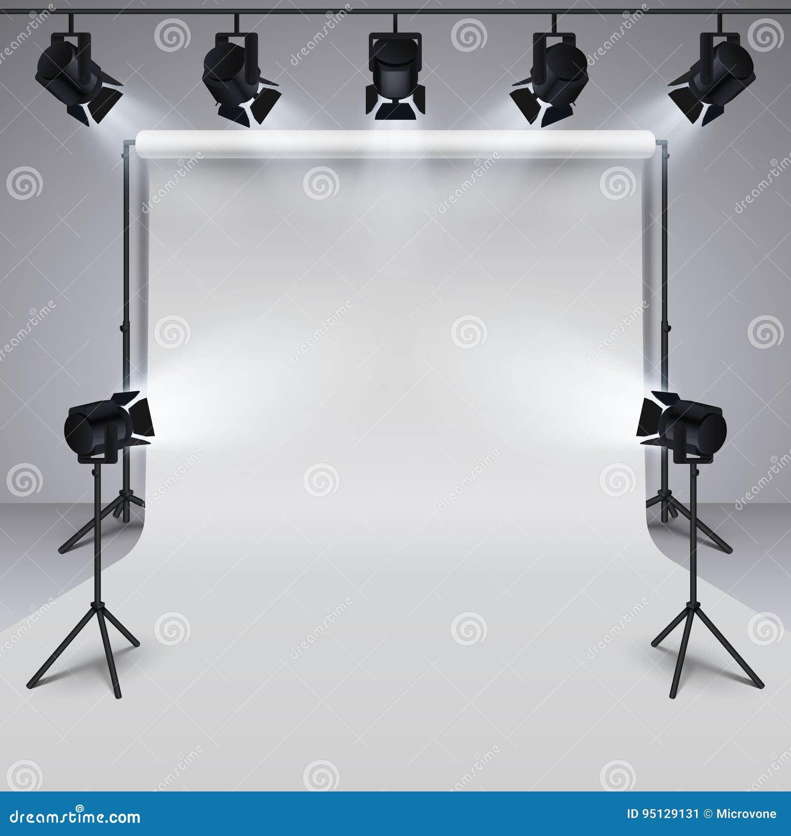 Equipo de iluminación y fondo en blanco blanco del estudio profesional de la fotografía ilustración del vector 3d