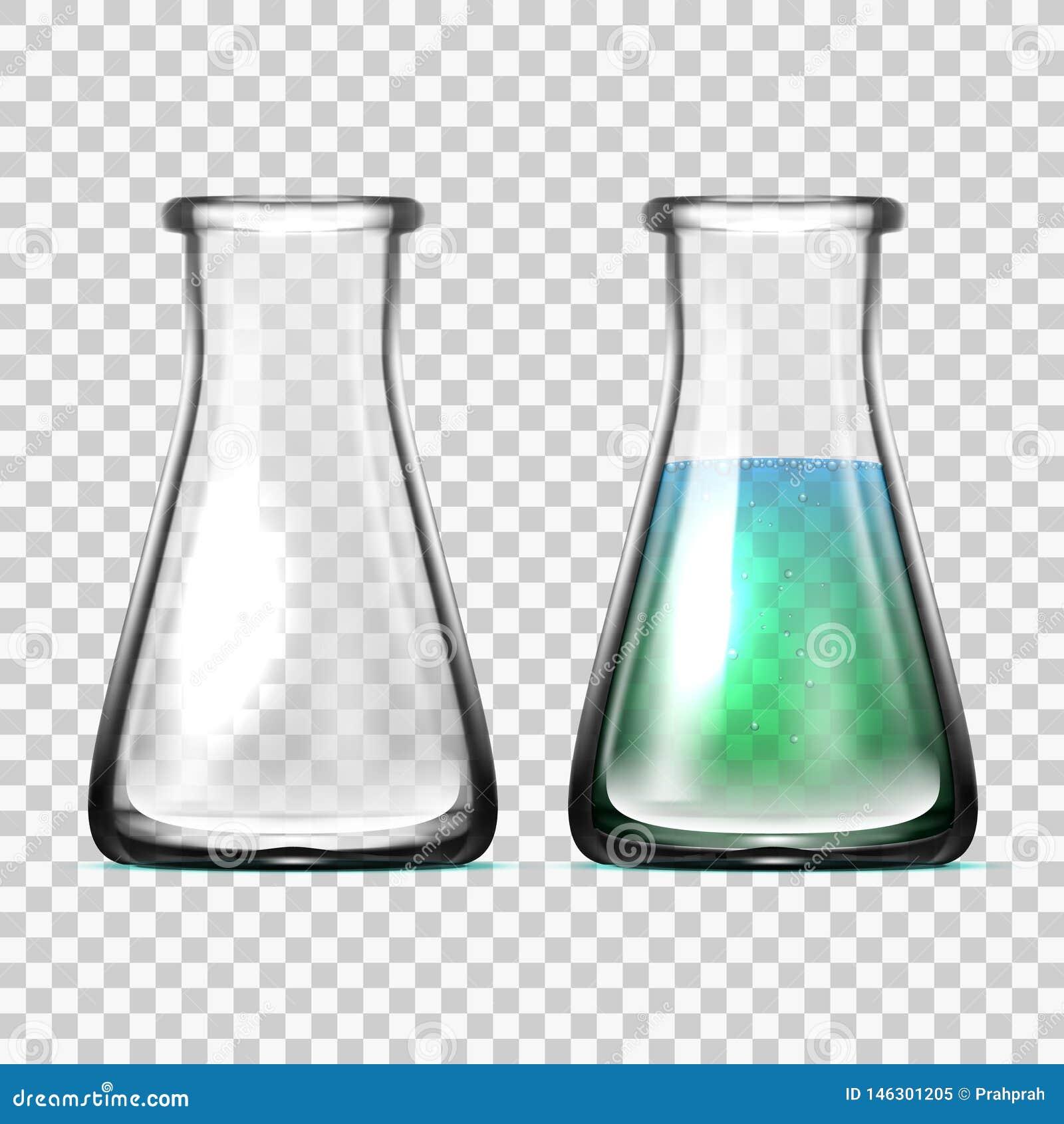 Equipo de laboratorio de cristal realista Frascos o cubiletes