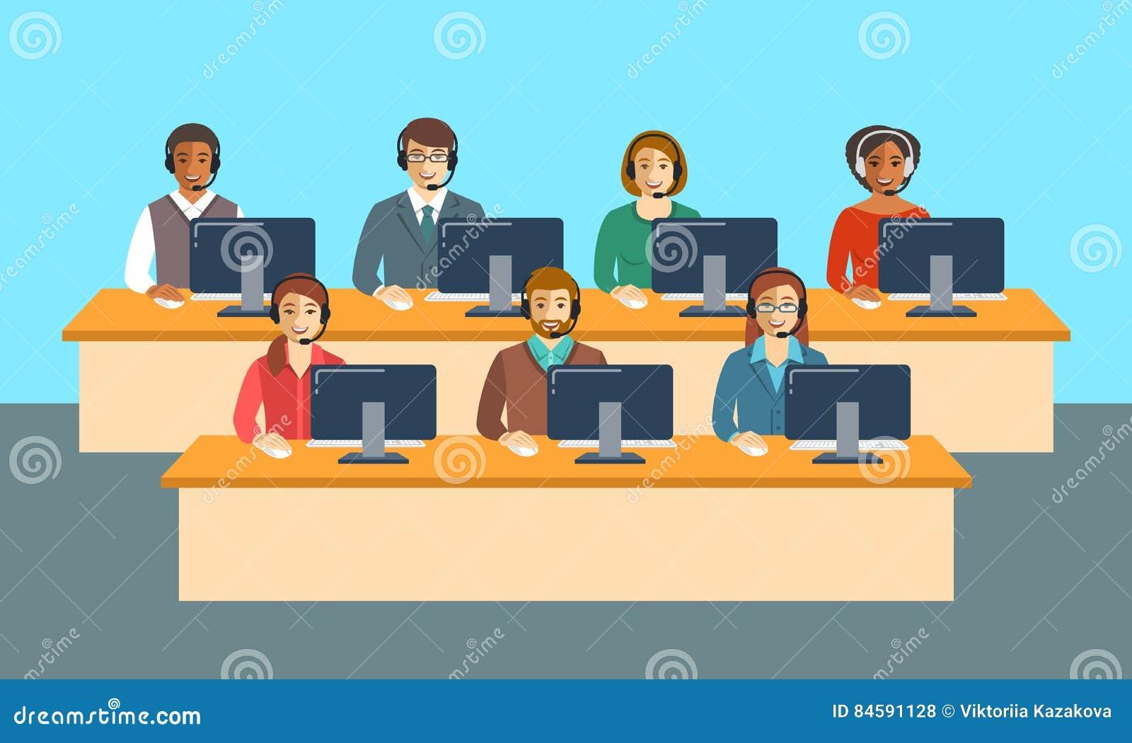 Equipo de los agentes del centro de atención telefónica en la bandera plana de la oficina