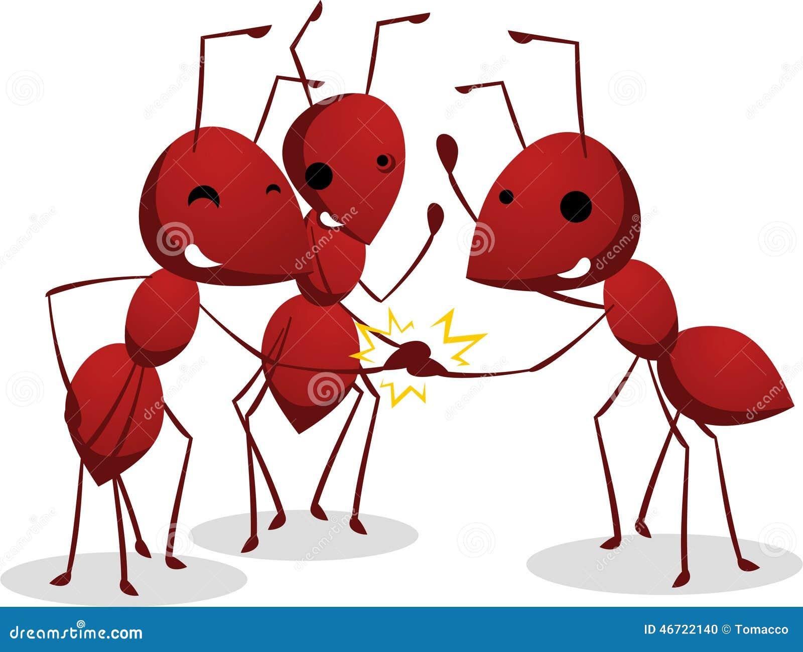 Equipo De Tres Hormigas Que Sacude Las Manos Del Trabajo En Equipo ...